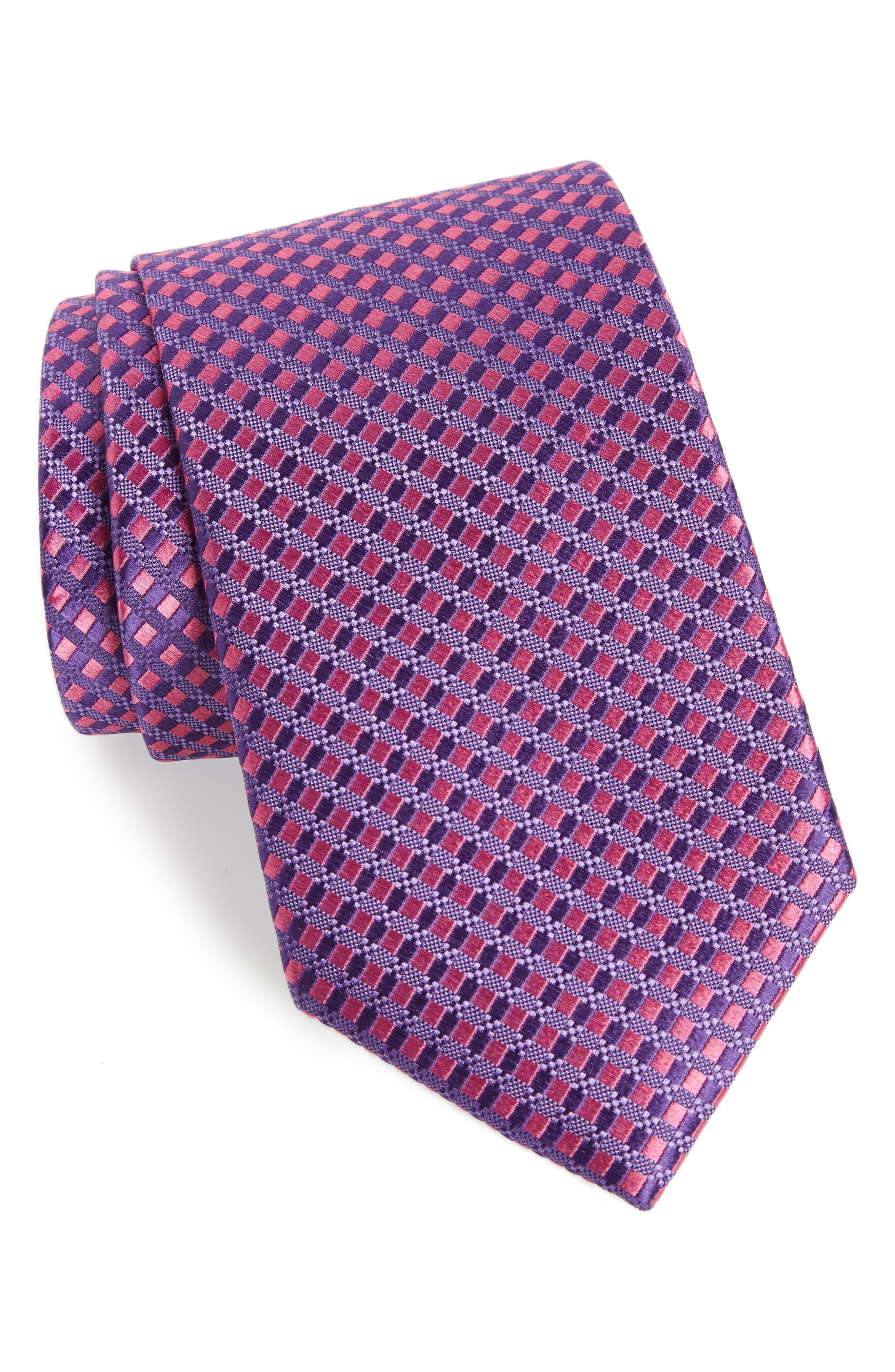 Nathan Check Silk Tie,                             Main thumbnail 2, color,