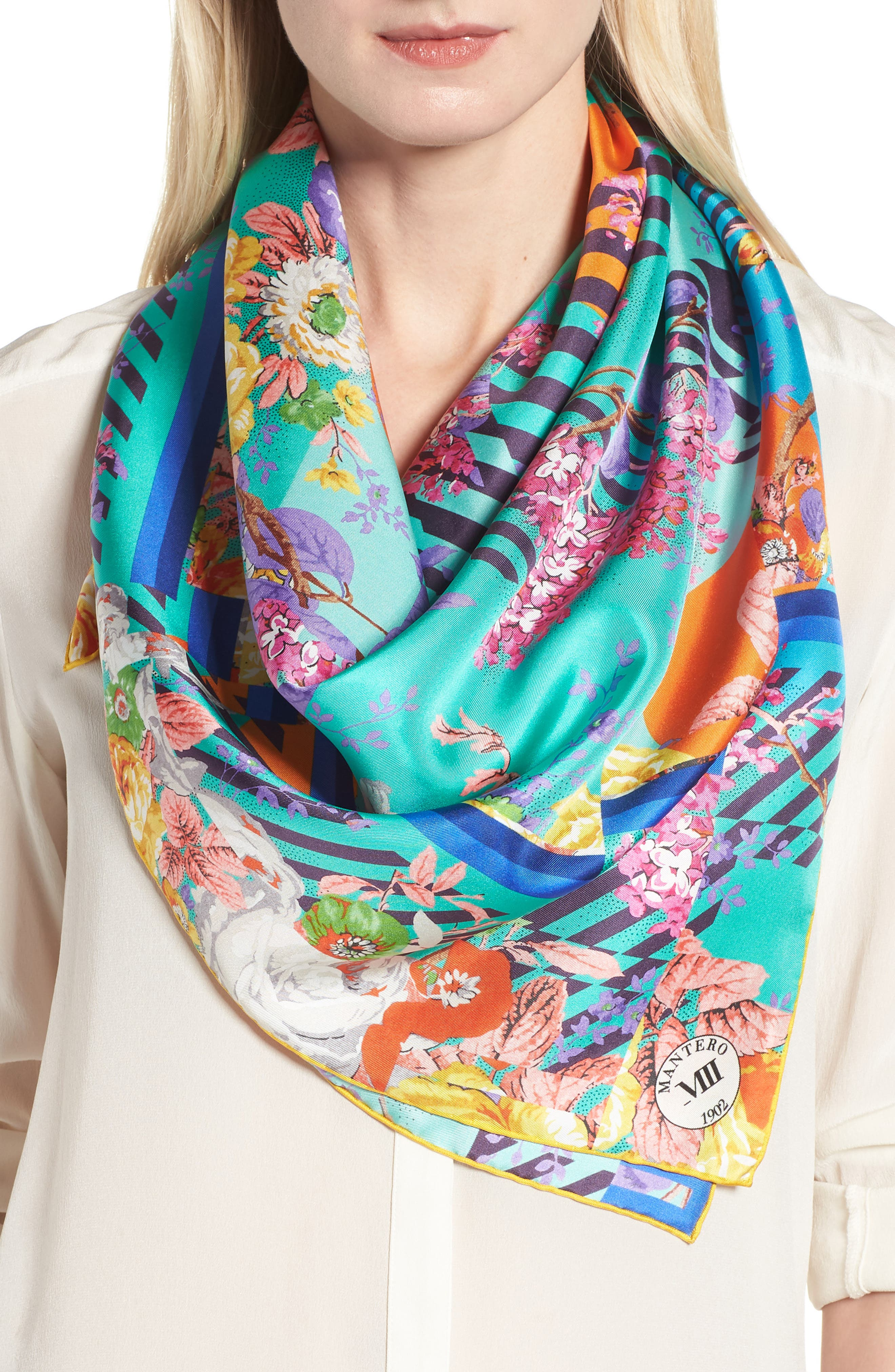 Amarcord Square Silk Scarf,                             Alternate thumbnail 2, color,                             JADE