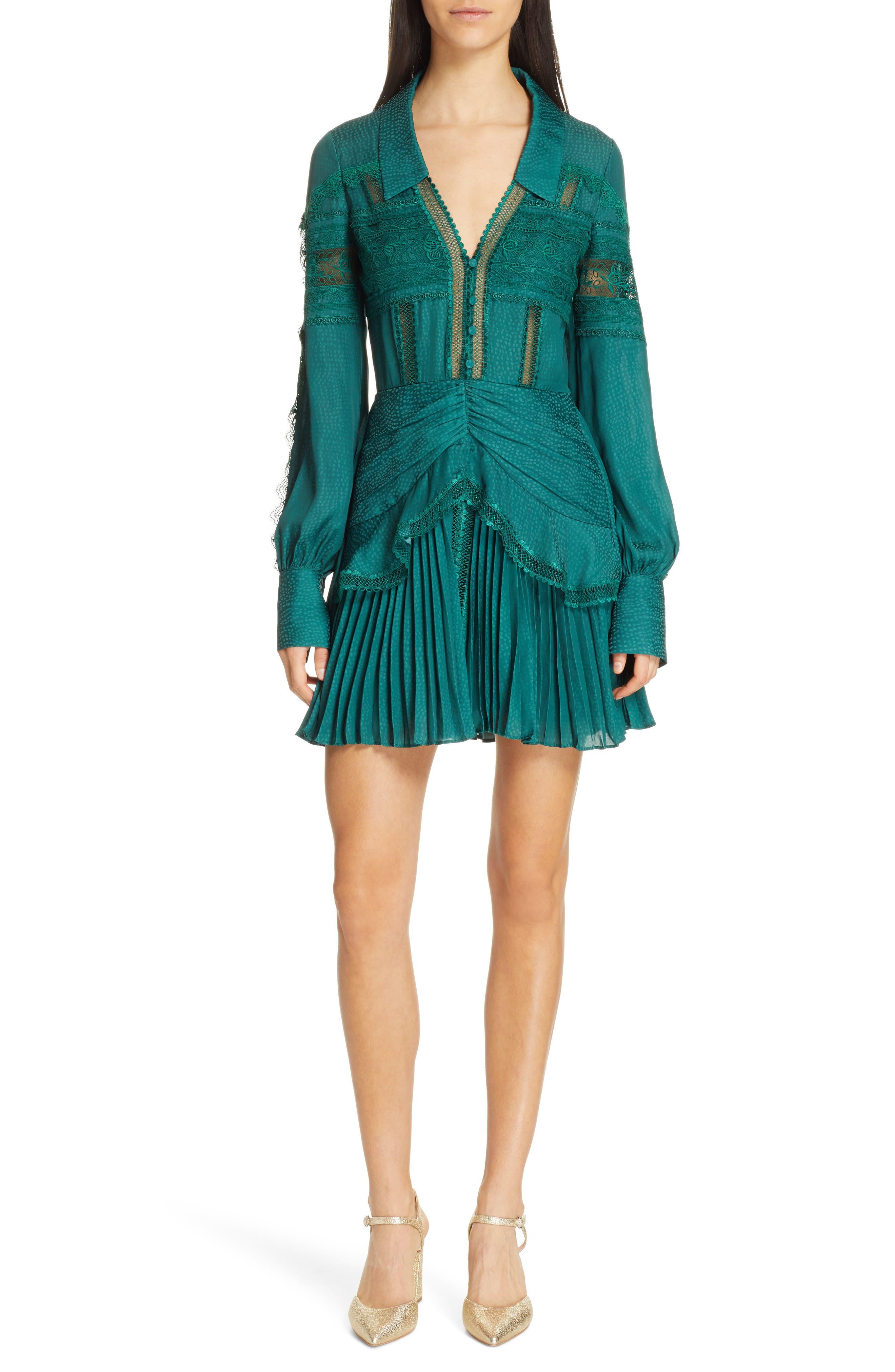 Self-Portrait Lace Trim Jacquard Minidress, Green
