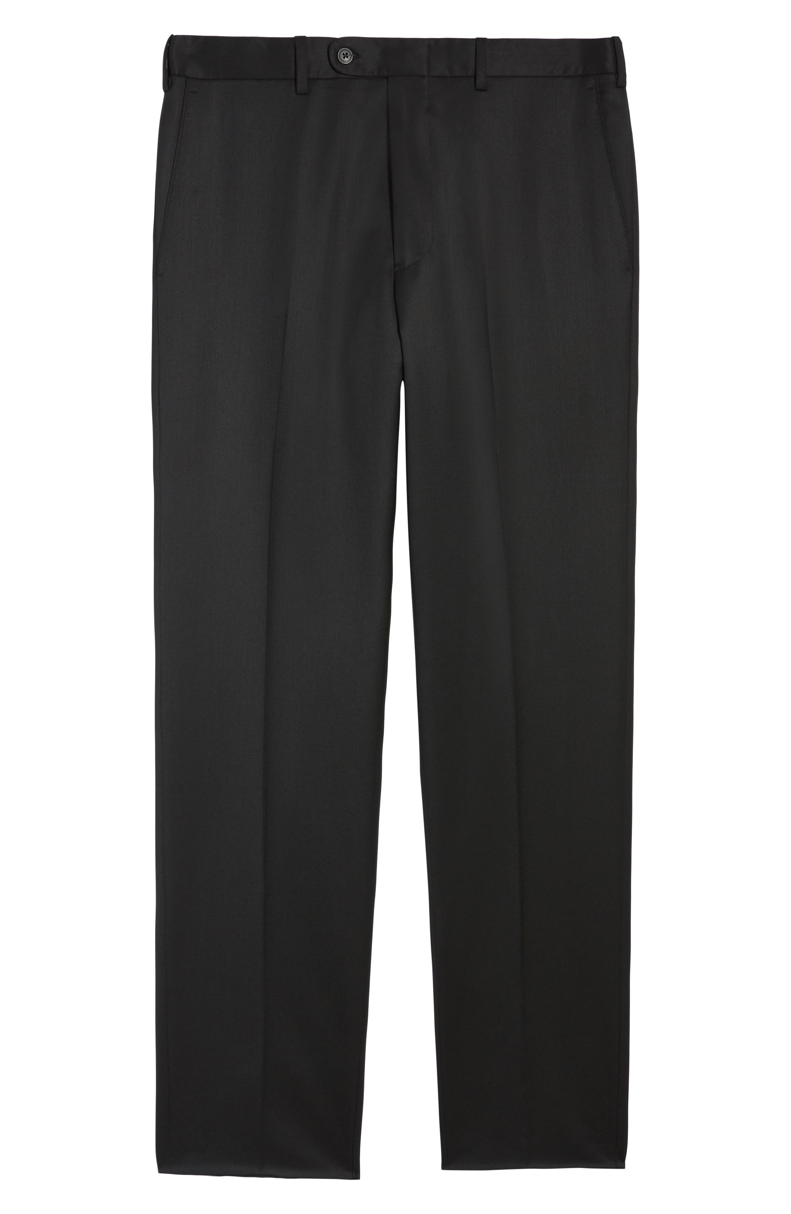Torino Traditional Fit Flat Front Solid Trousers,                             Alternate thumbnail 6, color,                             BLACK