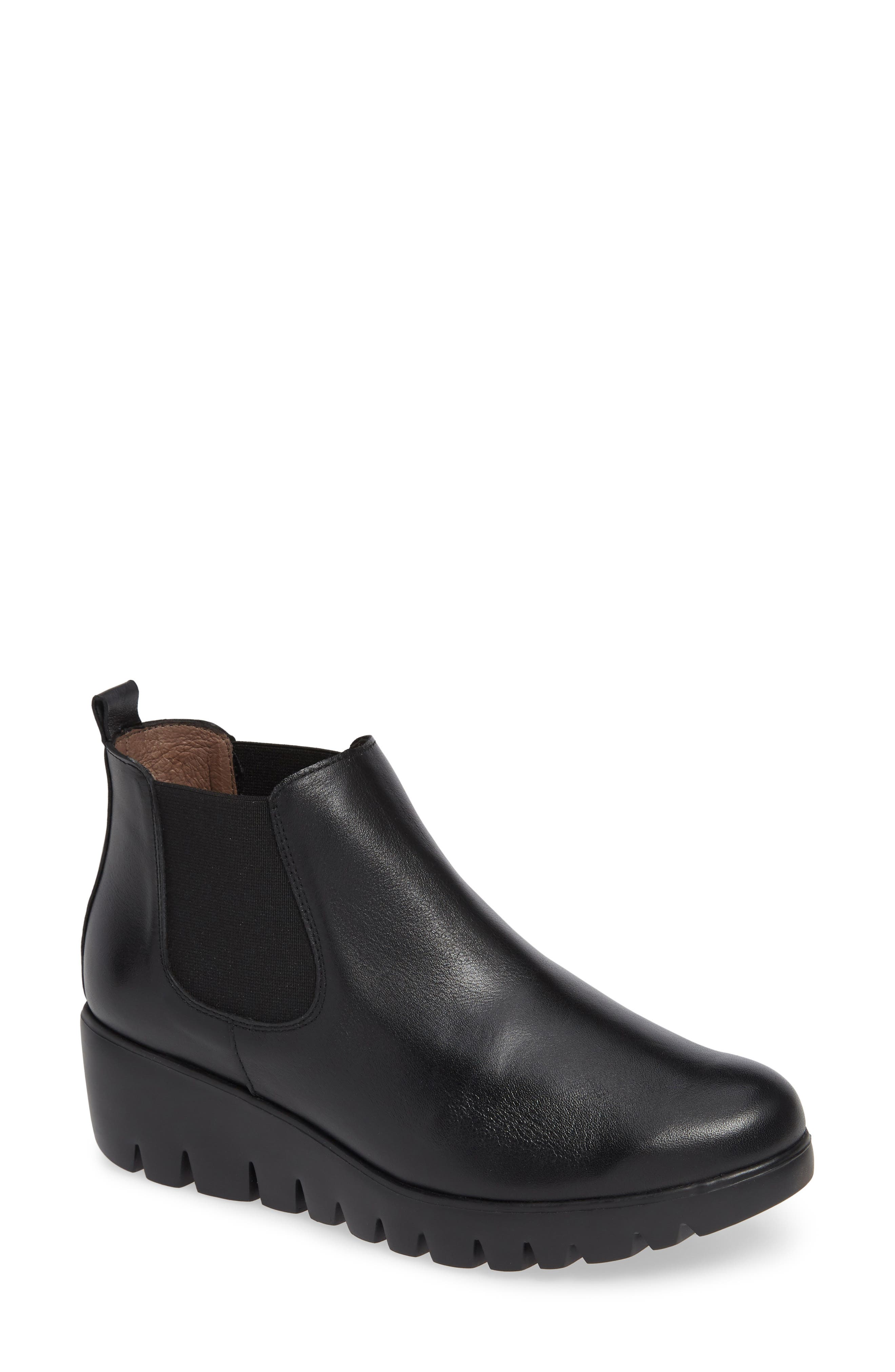 Slip-On Chelsea Boot,                             Main thumbnail 1, color,                             BLACK SMOOTH LEATHER
