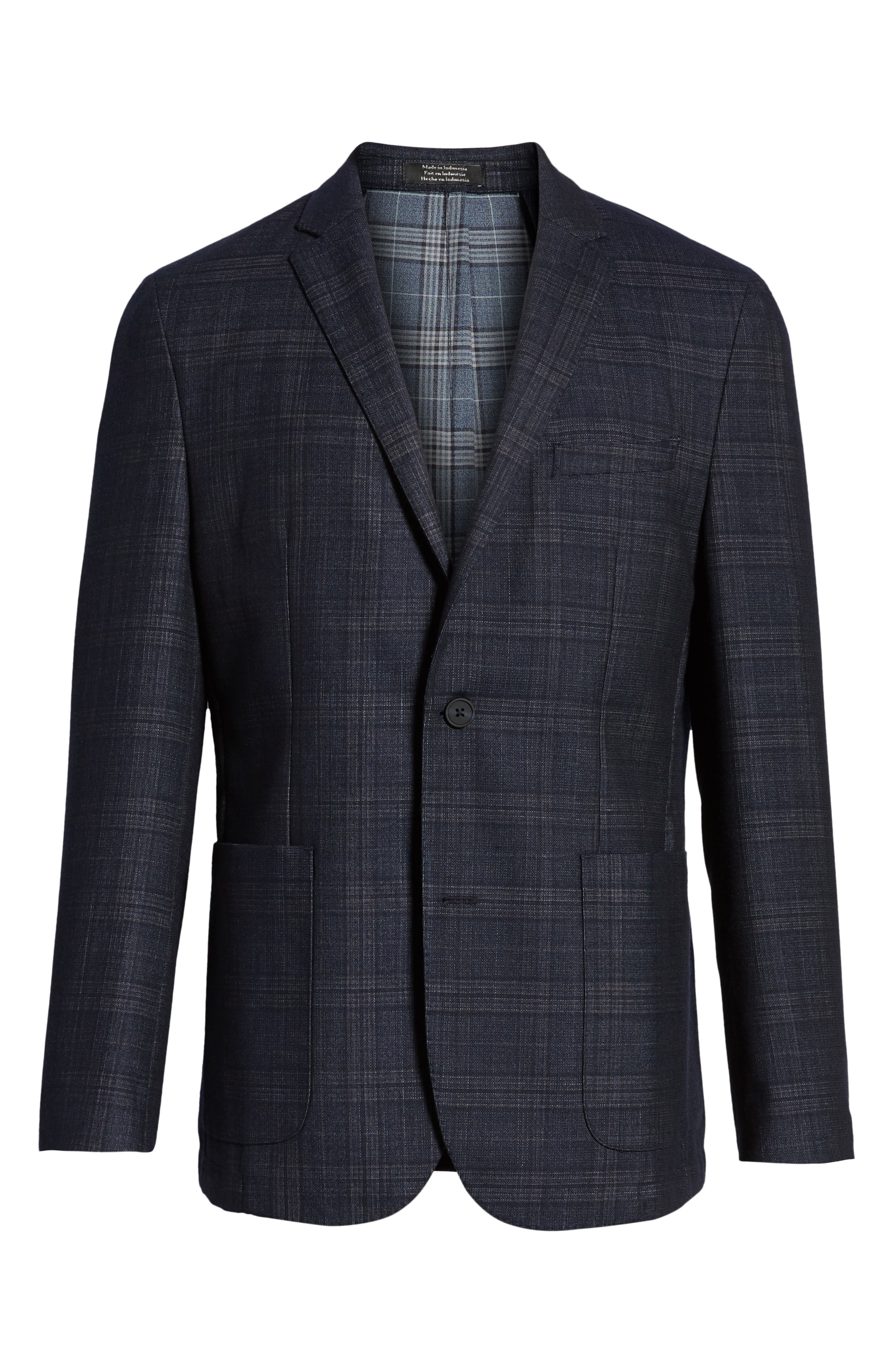 VINCE CAMUTO,                             Dell Aria Unconstructed Sport Coat,                             Alternate thumbnail 5, color,                             NAVY GRIN THRU