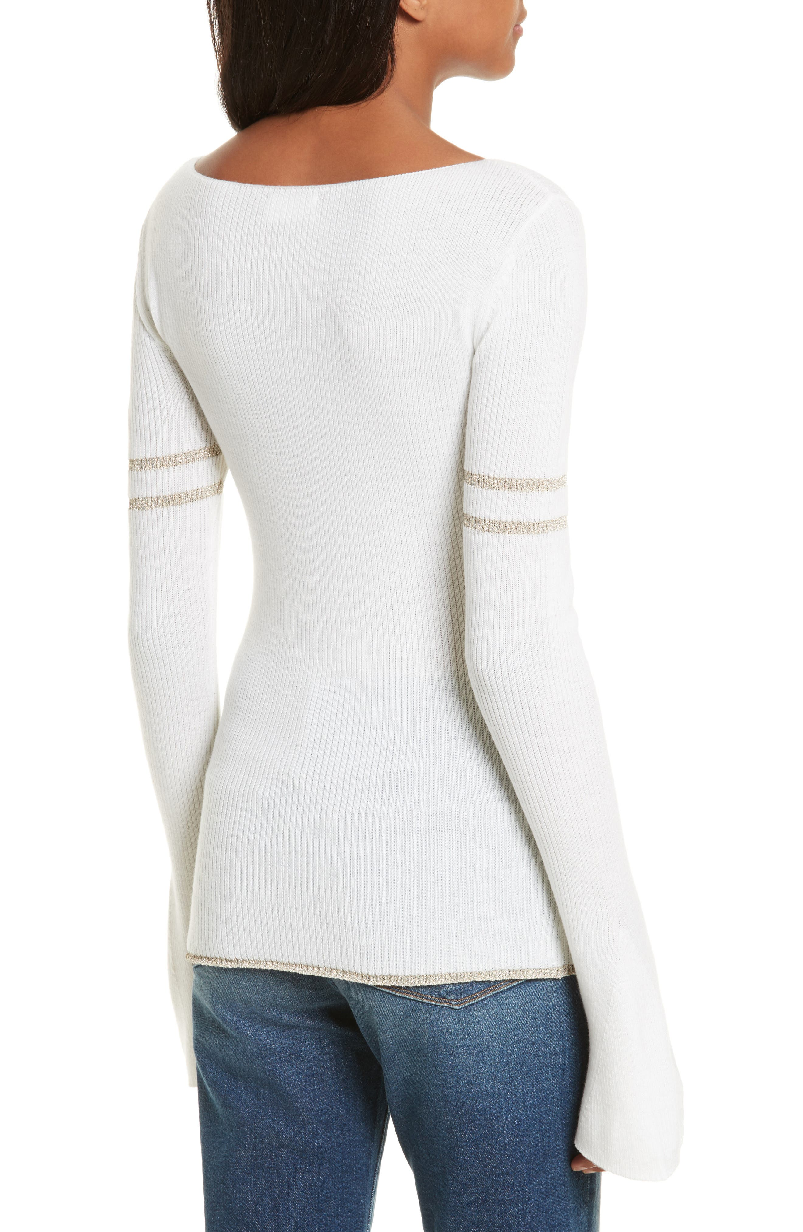 Metallic Knit Merino Wool Blend Sweater,                             Alternate thumbnail 2, color,                             199