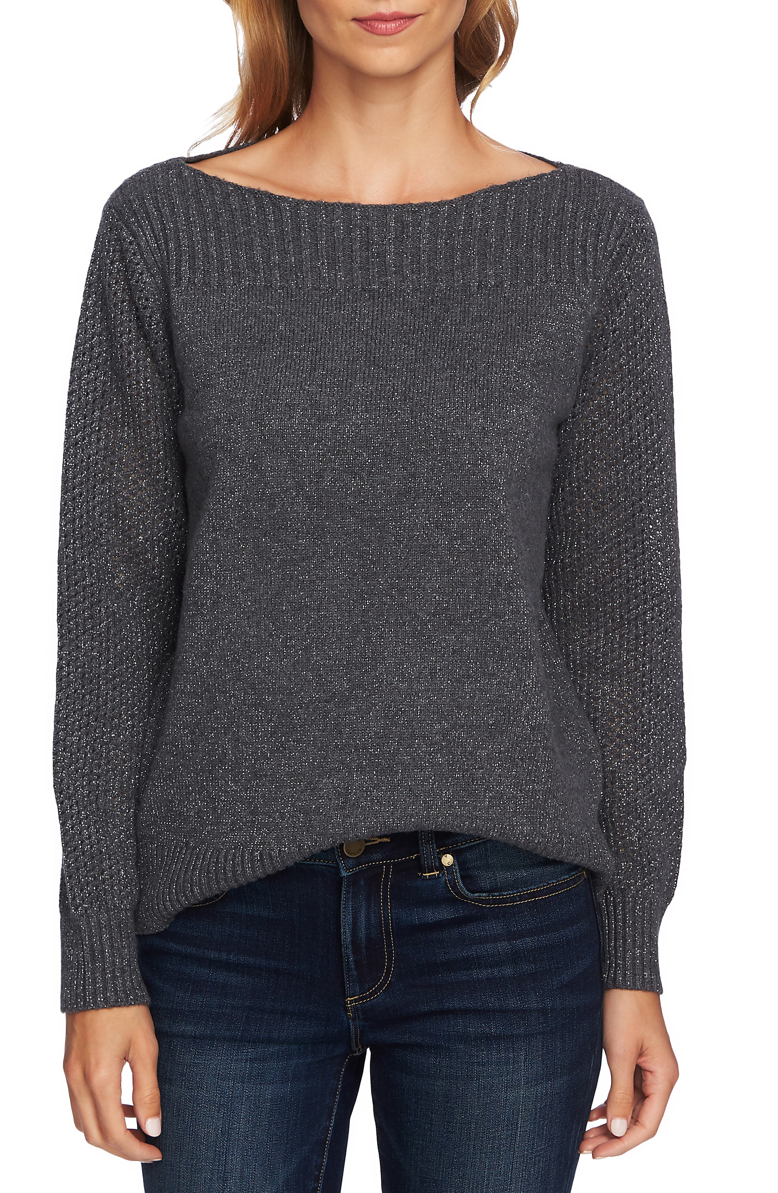 Metallic Knit Sweater,                             Main thumbnail 1, color,                             MED HEATHER GREY