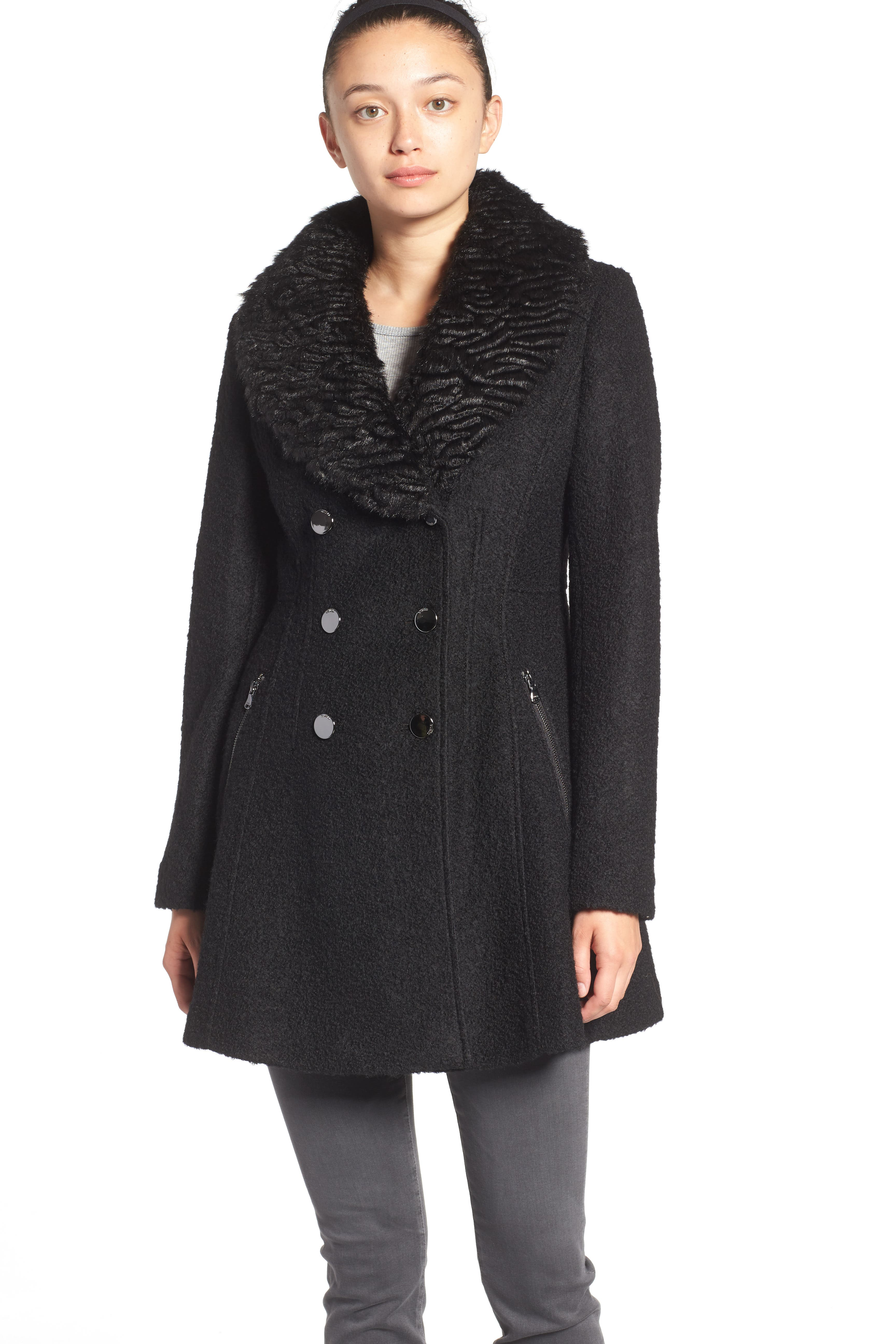 Bouclé Fit & Flare Coat with Faux Fur Collar,                             Alternate thumbnail 2, color,                             001