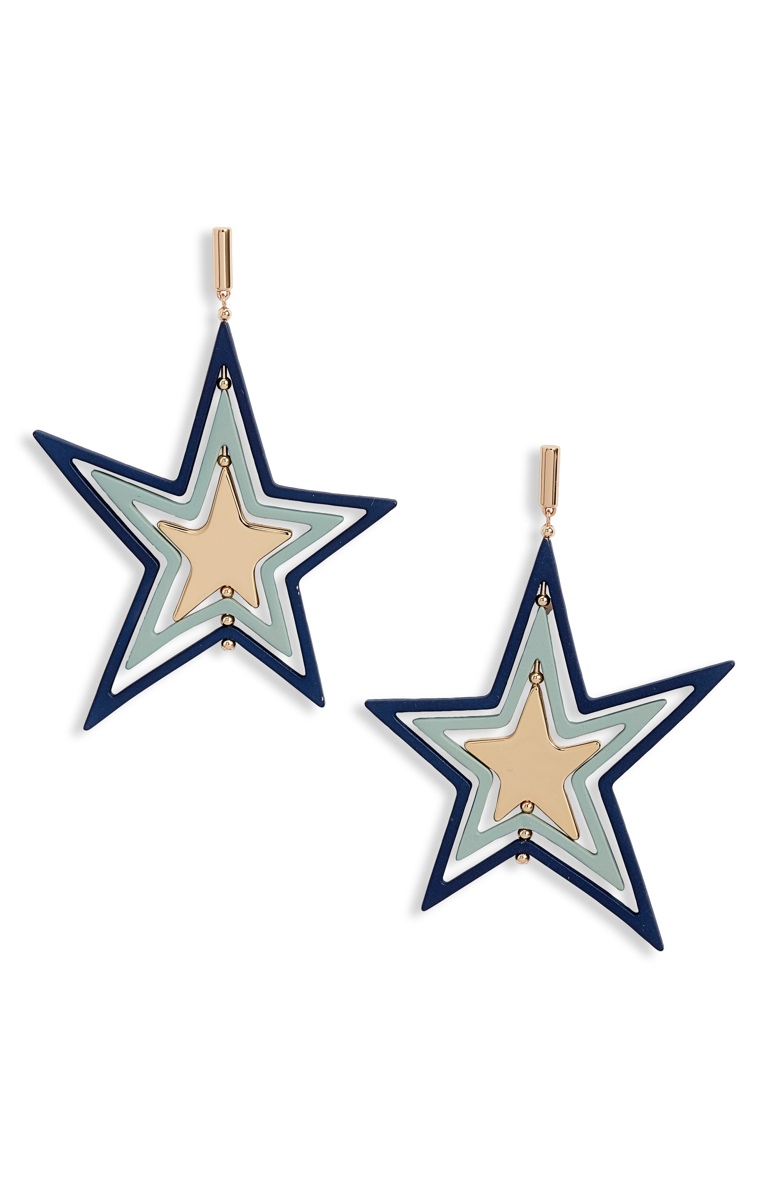 Spinning Star Statement Earrings in Tory Gold/ Sea Blue/ Mint