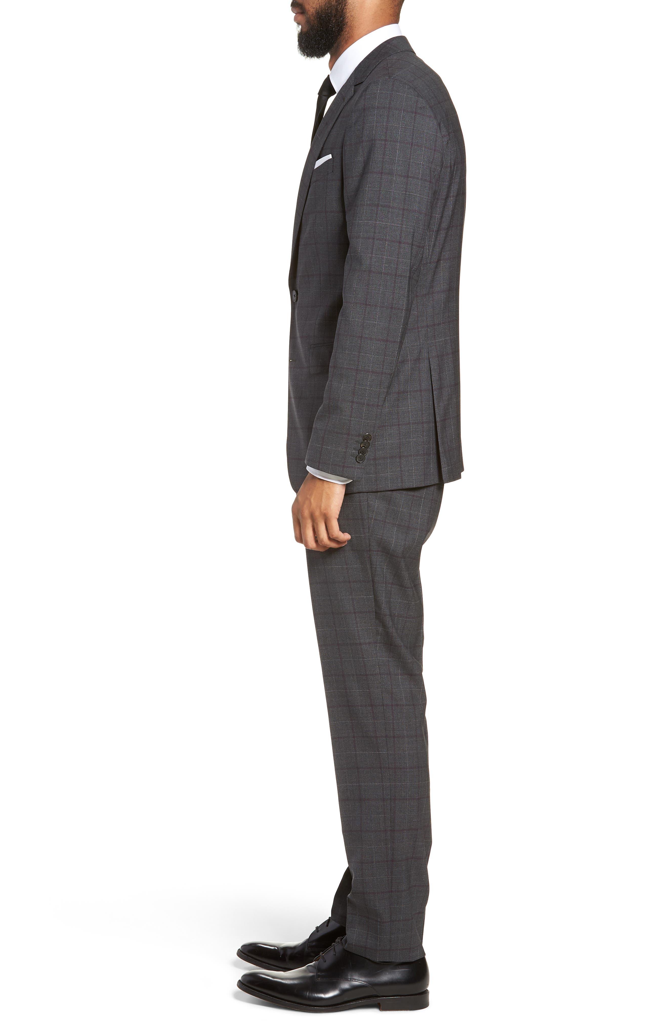 BOSS,                             Novan/Ben Trim Fit Plaid Wool Suit,                             Alternate thumbnail 3, color,                             506