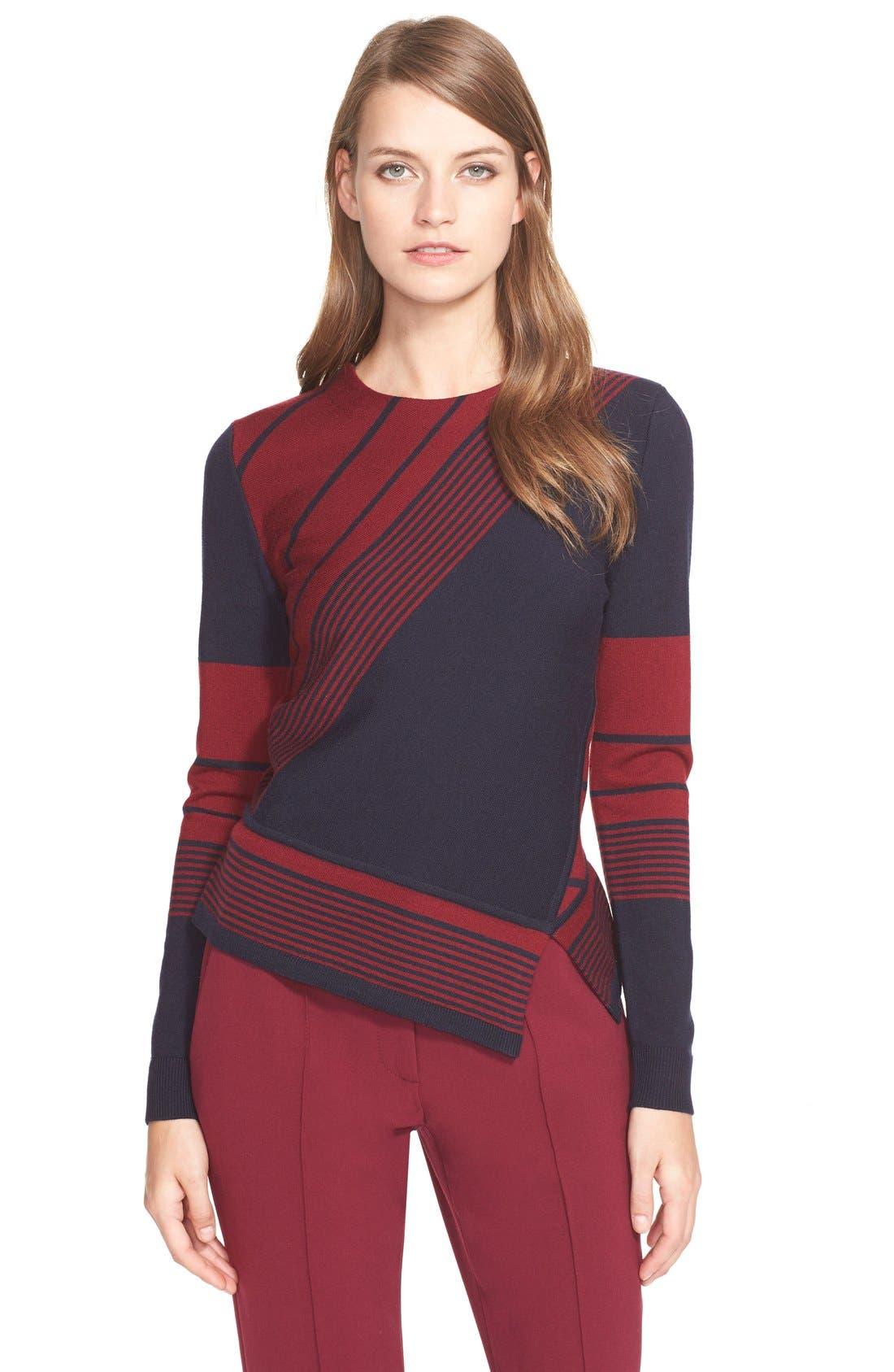Tory Burch Stripe Asymmetrical Peplum Merino Sweater