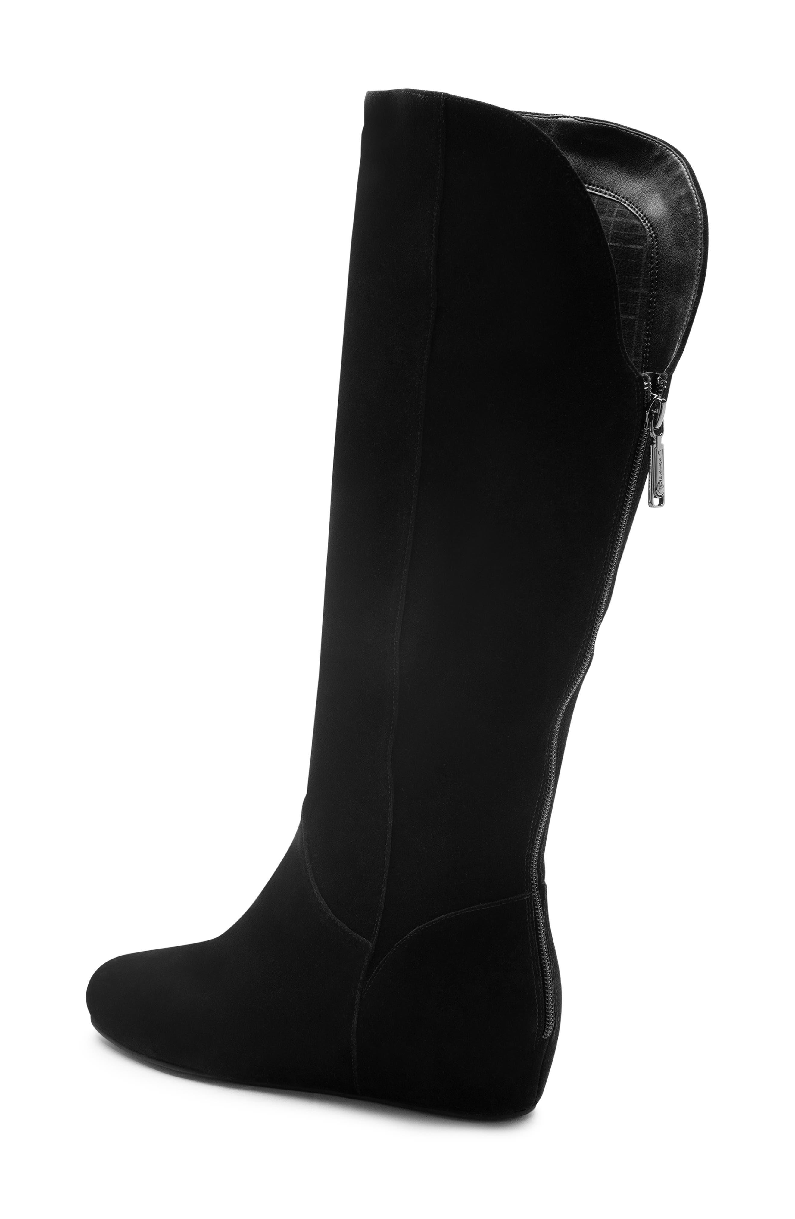 Mercy Waterproof Wedge Knee High Boot,                             Alternate thumbnail 2, color,                             BLACK SUEDE