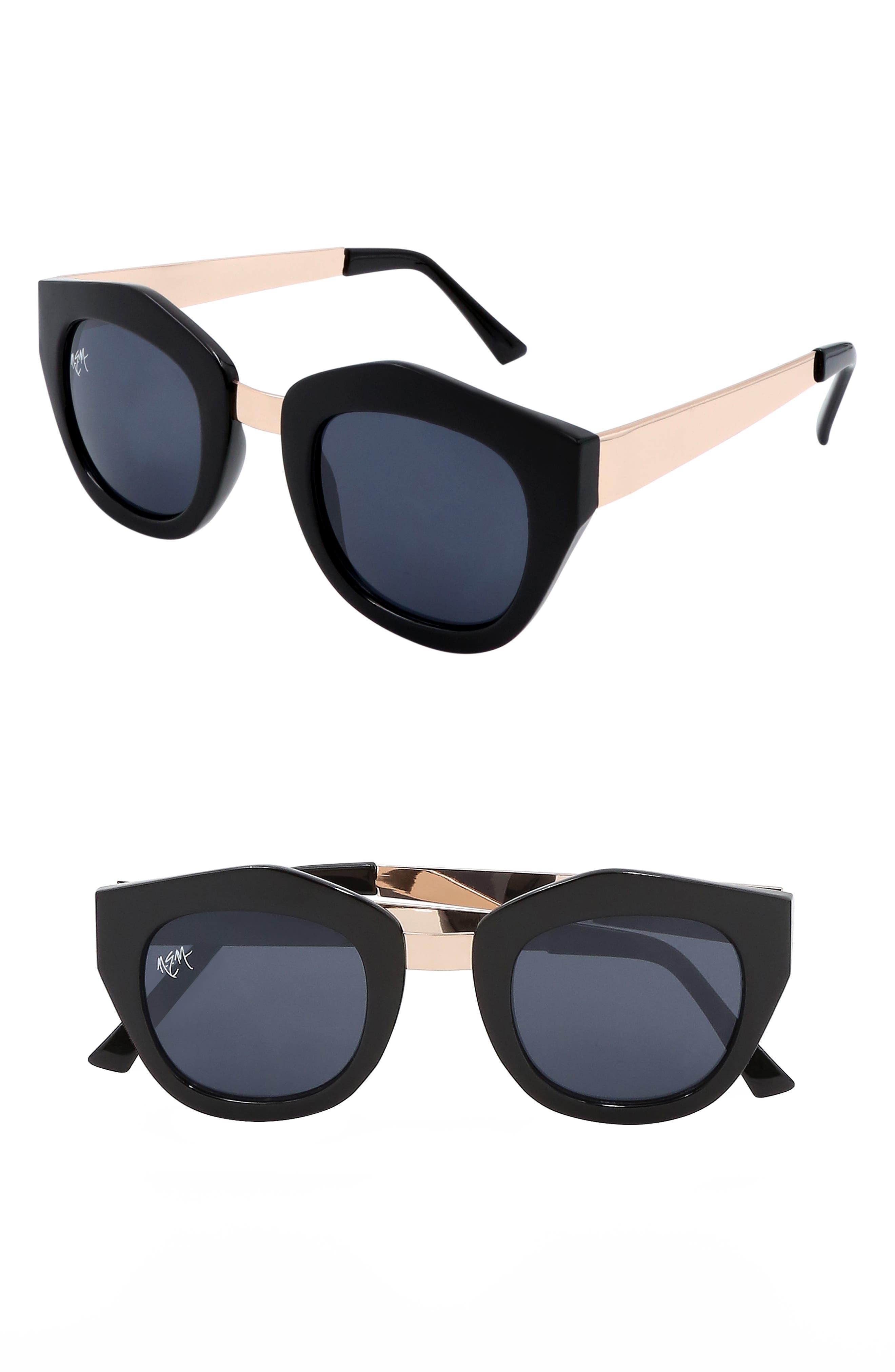 Nem Envy 45Mm Angular Sunglasses - Black W Dark Lens