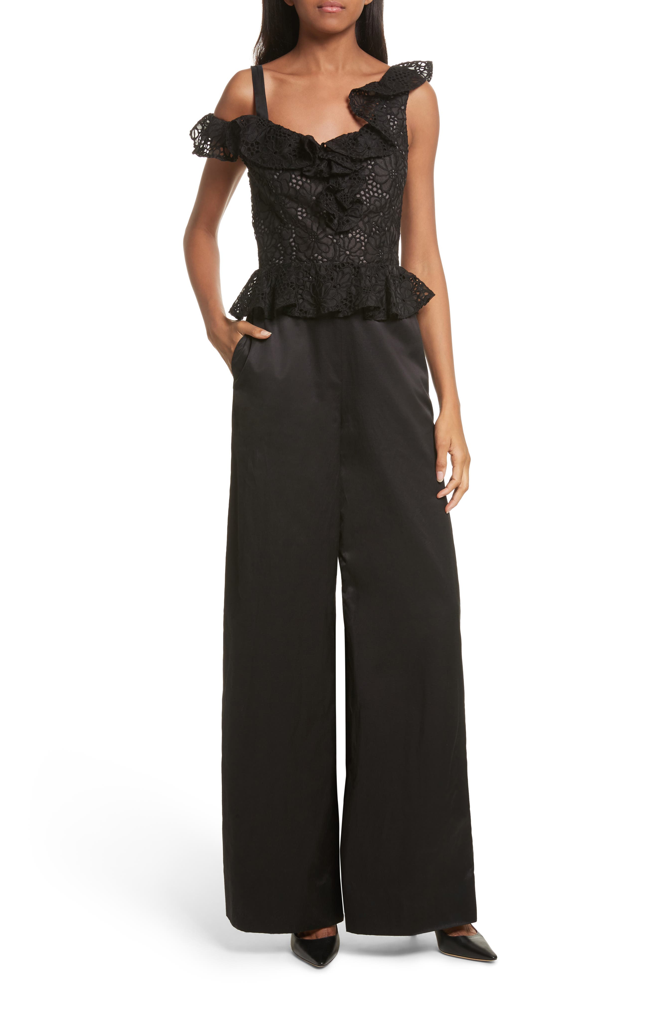 Malorie Off the Shoulder Embroidered Silk Jumpsuit,                         Main,                         color, 001
