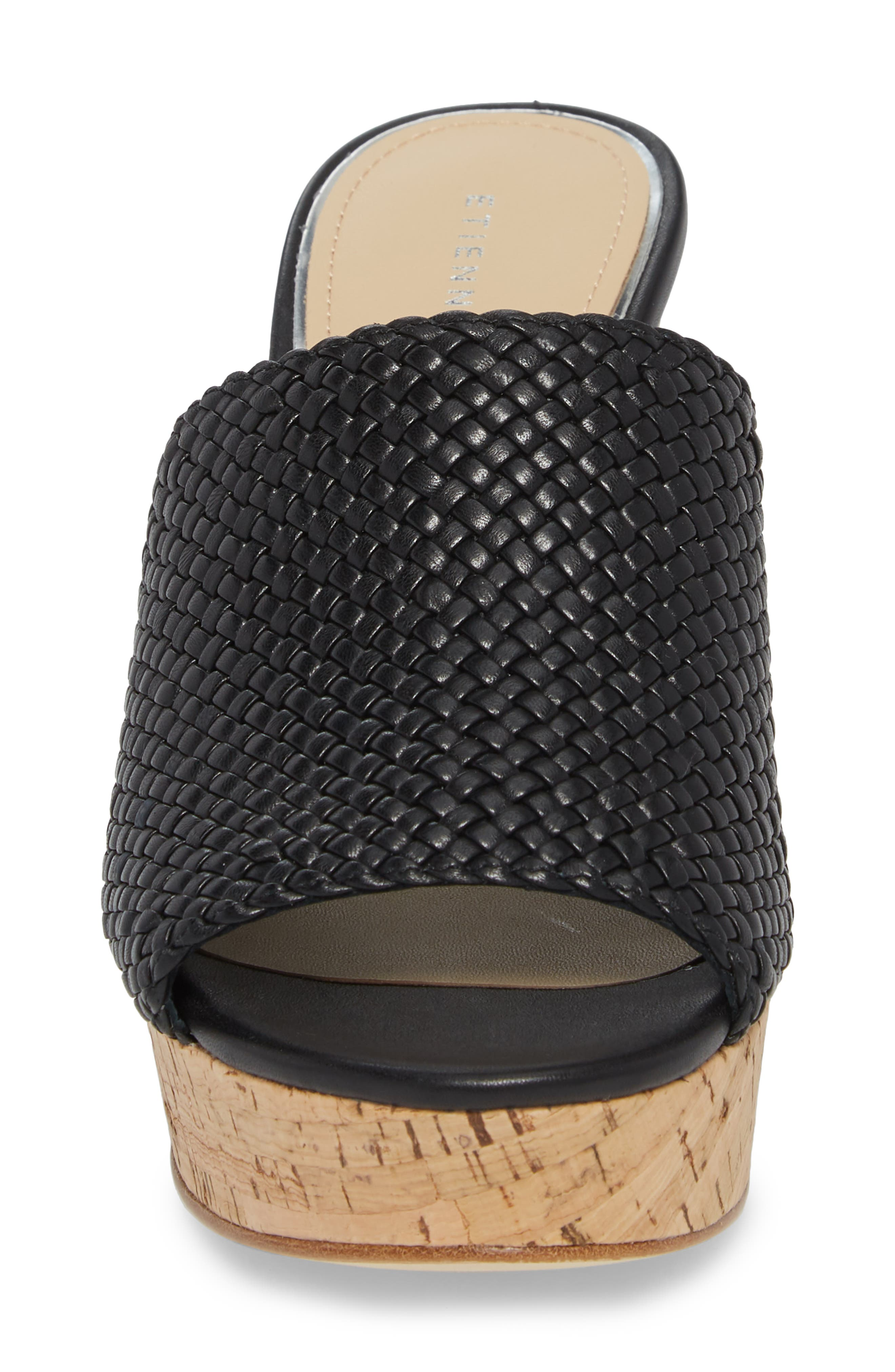 Daiquiri Wedge Mule,                             Alternate thumbnail 4, color,                             BLACK LEATHER
