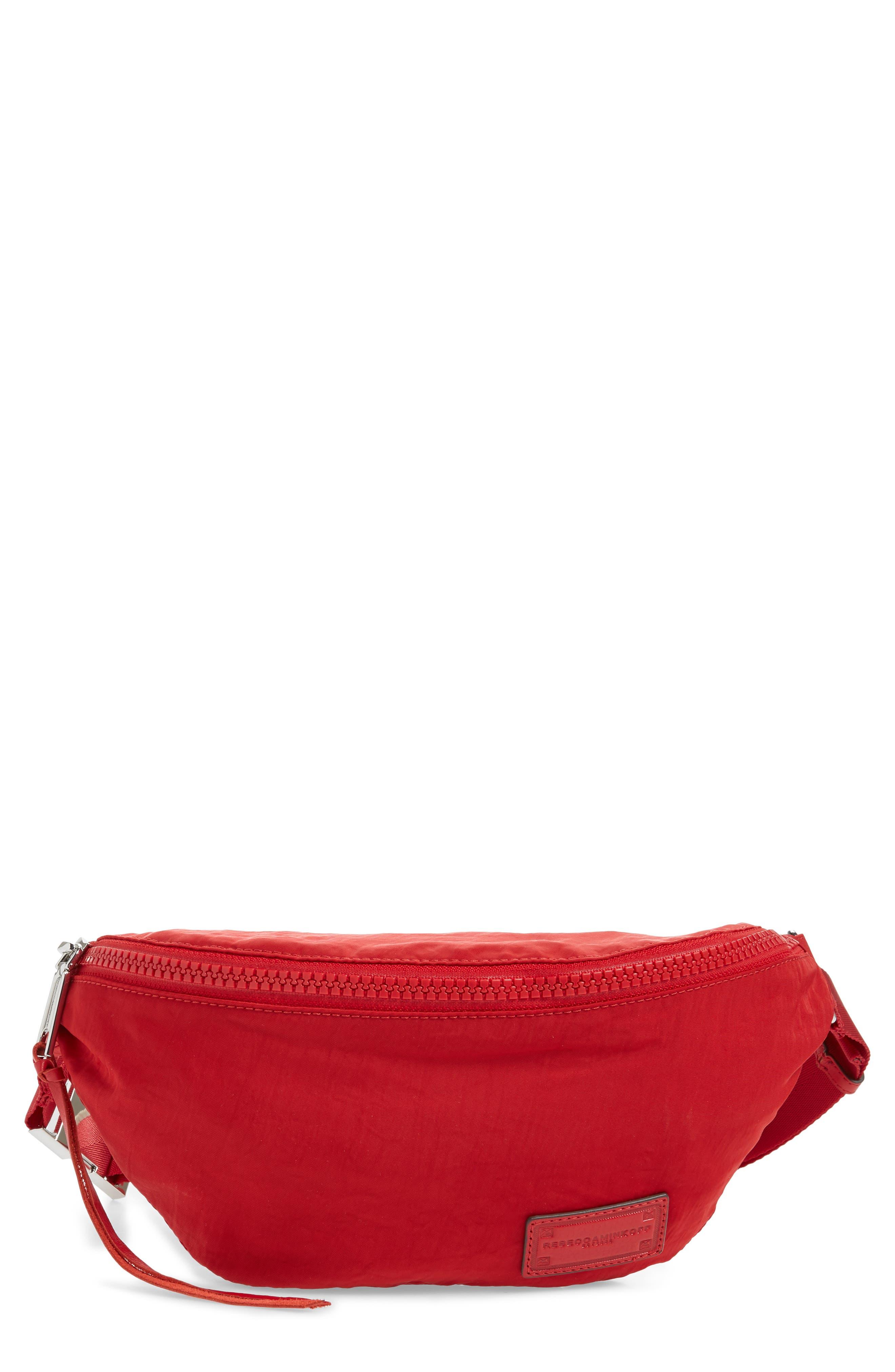 Nylon Belt Bag,                         Main,                         color, SCARLET