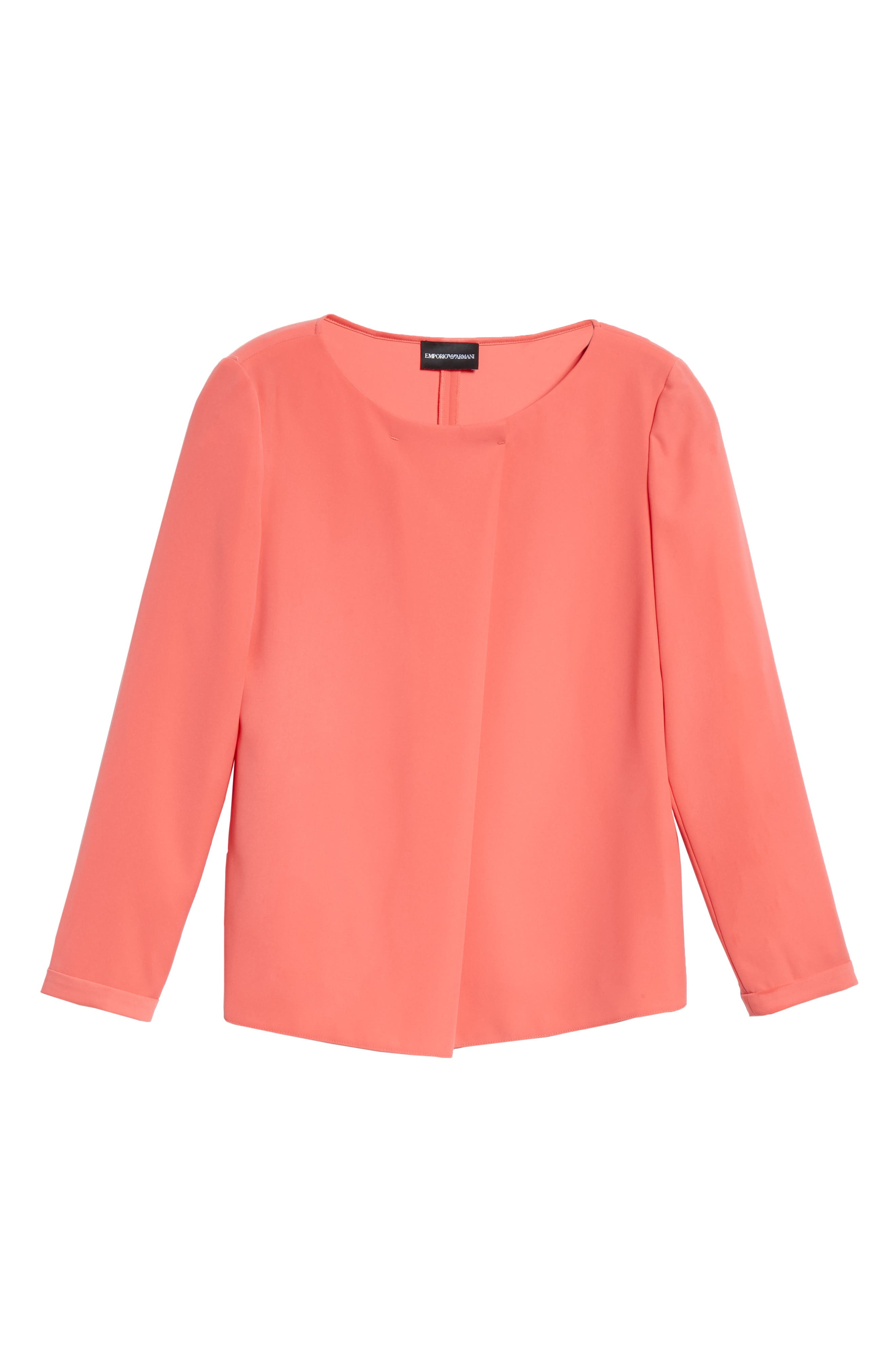 EMPORIO ARMANI,                             Asymmetrical Blouse,                             Alternate thumbnail 6, color,                             SUNRISE RED