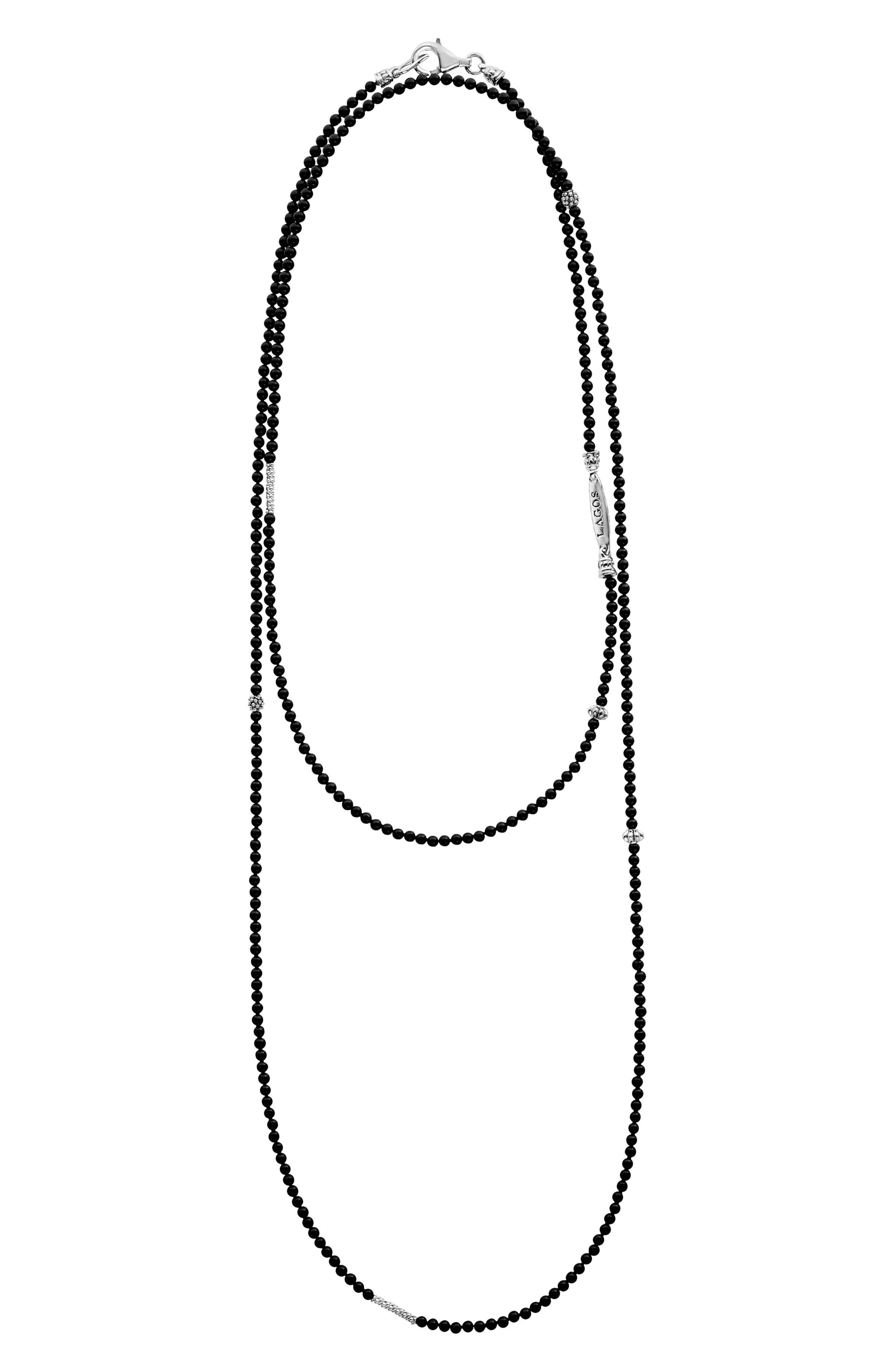 LAGOS,                             Caviar Icon Station Necklace,                             Alternate thumbnail 2, color,                             SILVER/ ONYX