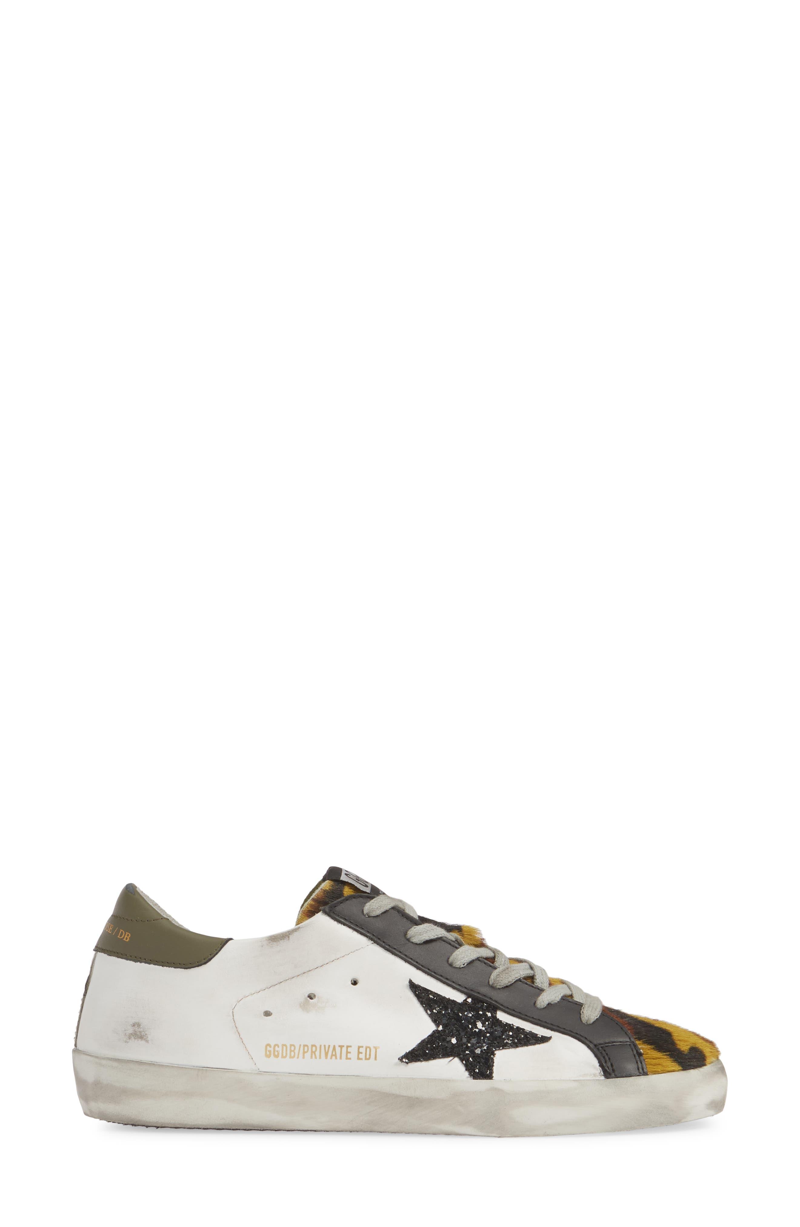 GOLDEN GOOSE,                             Superstar Genuine Calf Hair Sneaker,                             Alternate thumbnail 3, color,                             WHITE/ CAMO