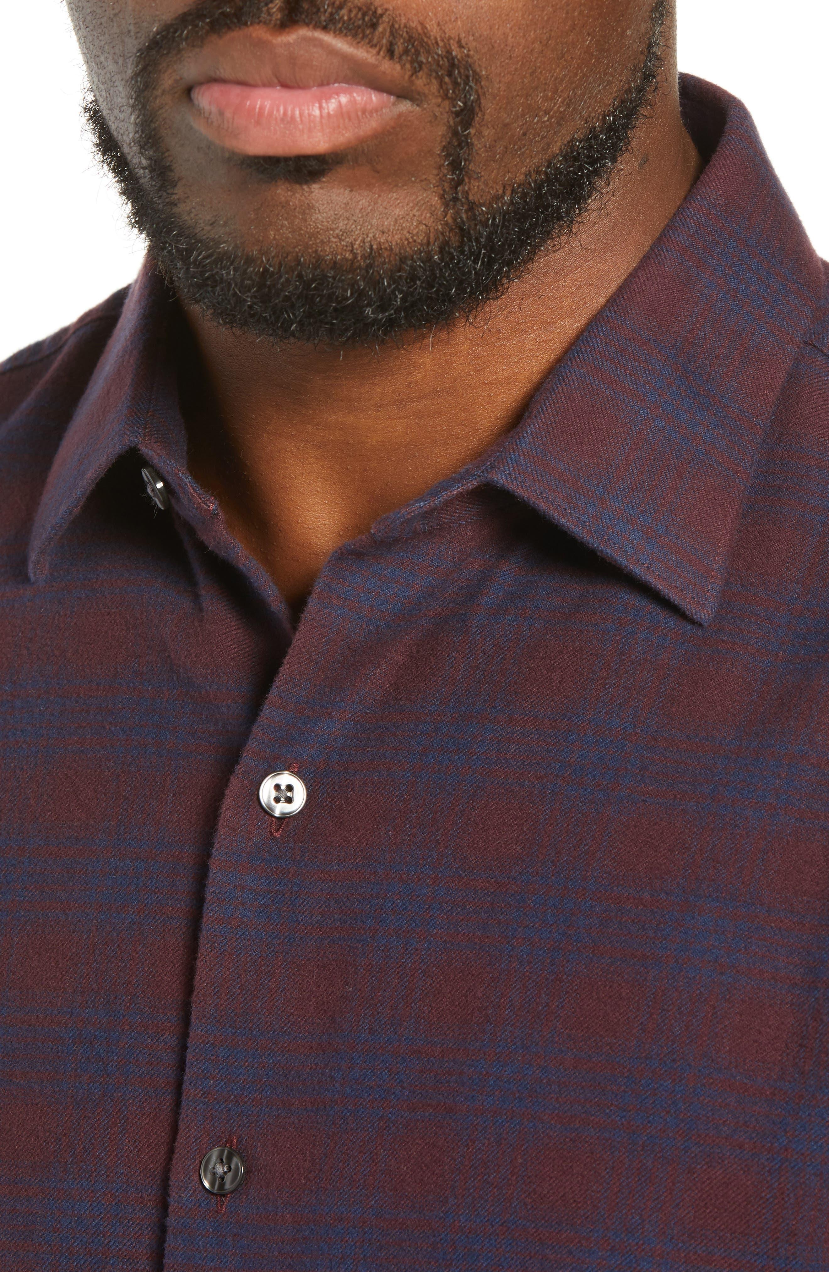 Unbutton Down Slim Fit Check Sport Shirt,                             Alternate thumbnail 2, color,                             ADCROFT CHECK - DAMSON PLUM