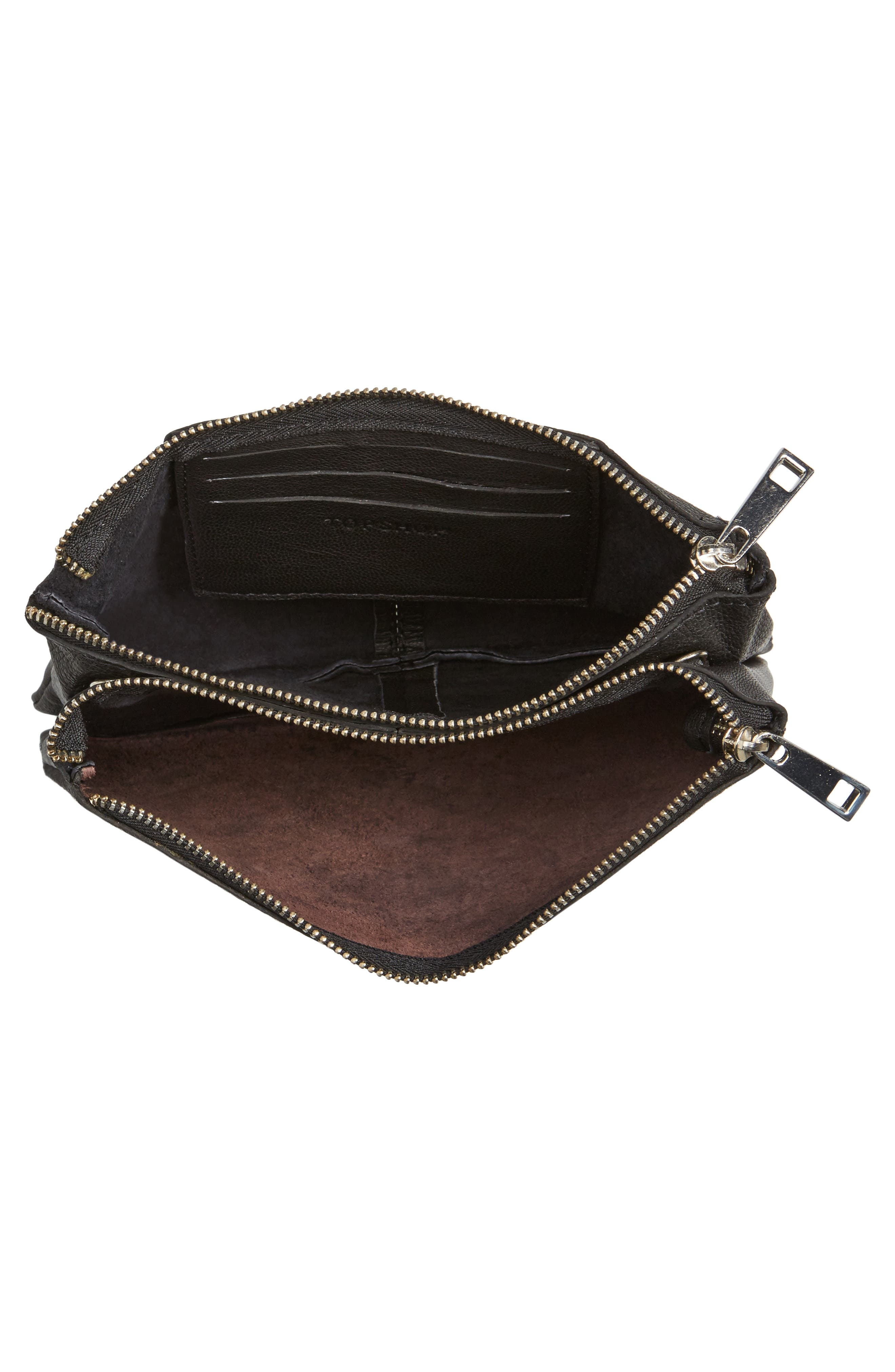 Oakley Leather & Genuine Calf Hair Crossbody Bag,                             Alternate thumbnail 4, color,                             001