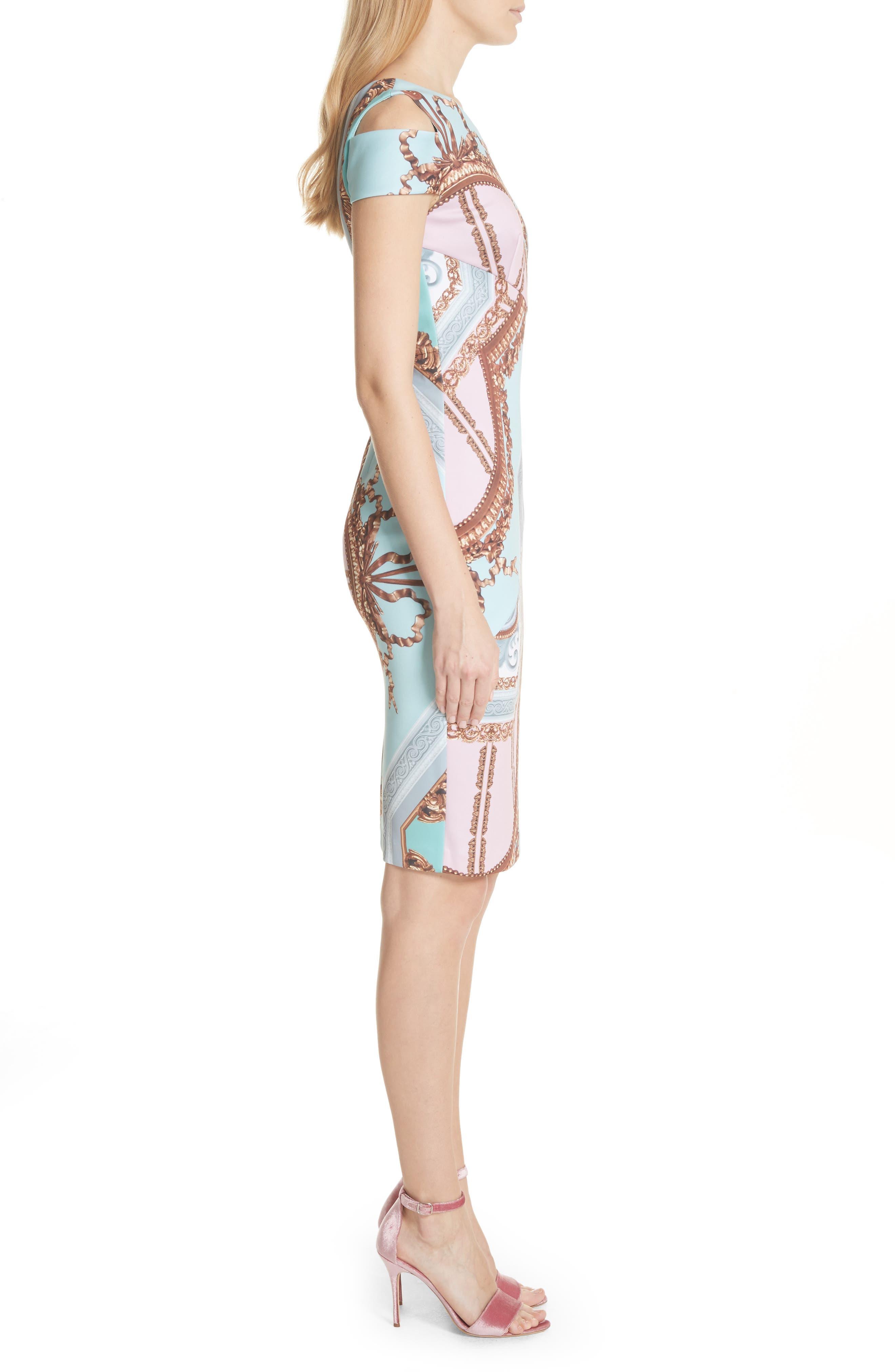 Versailles Print Body-Con Dress,                             Alternate thumbnail 6, color,