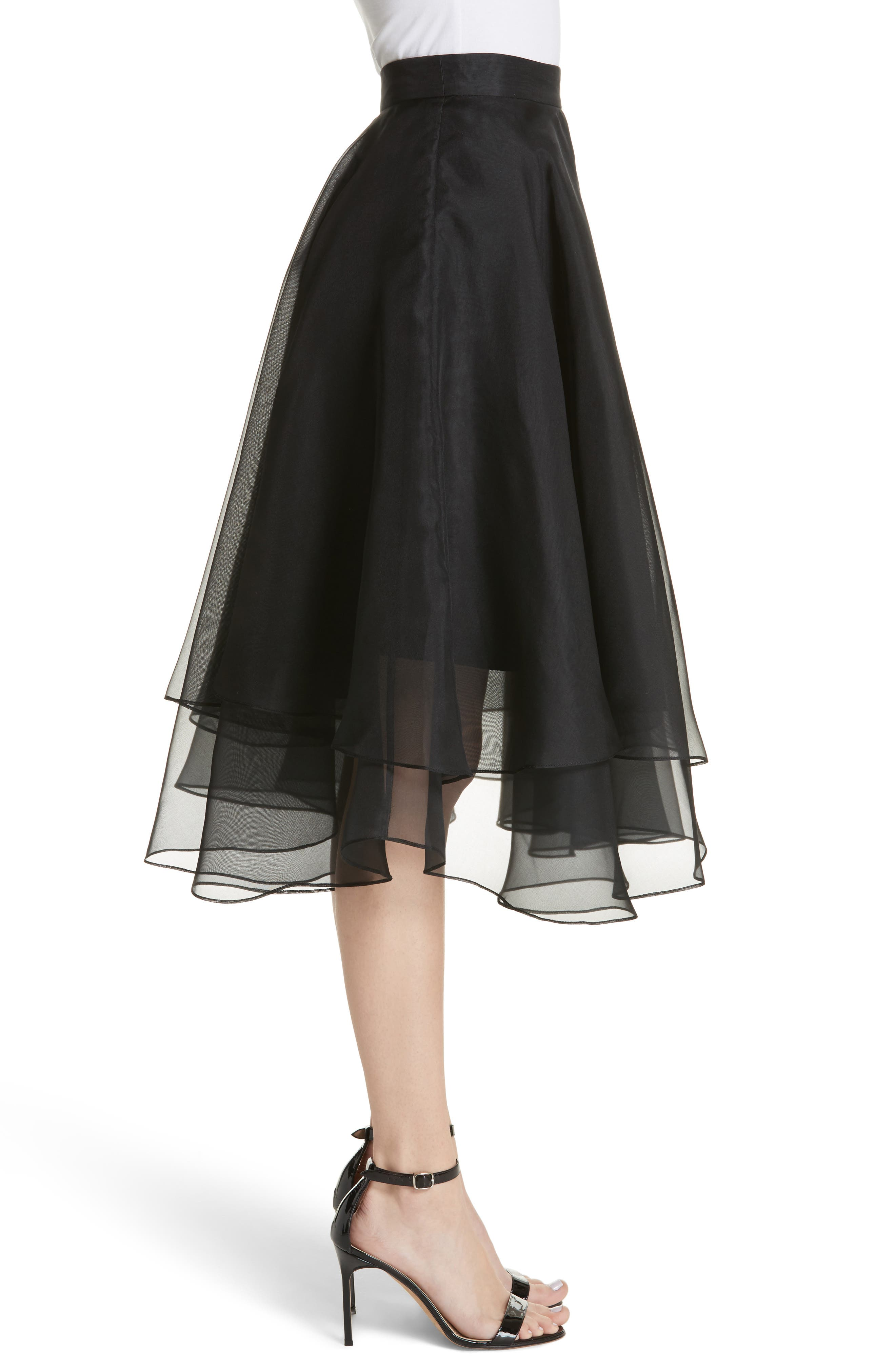 Layered Organza A-Line Skirt,                             Alternate thumbnail 3, color,                             001
