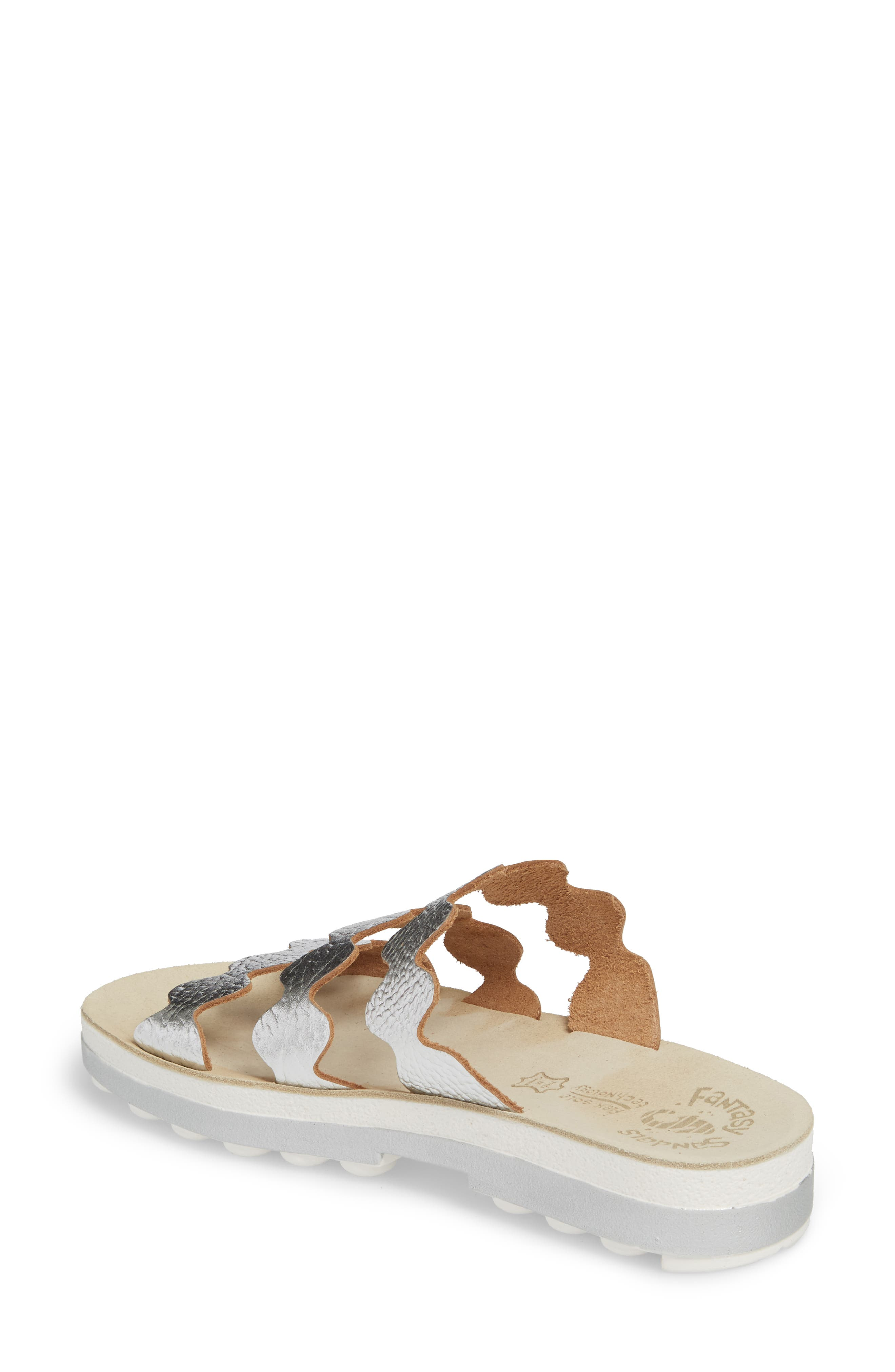 Waves Slide Sandal,                             Alternate thumbnail 2, color,                             SILVER VOLCANO LEATHER