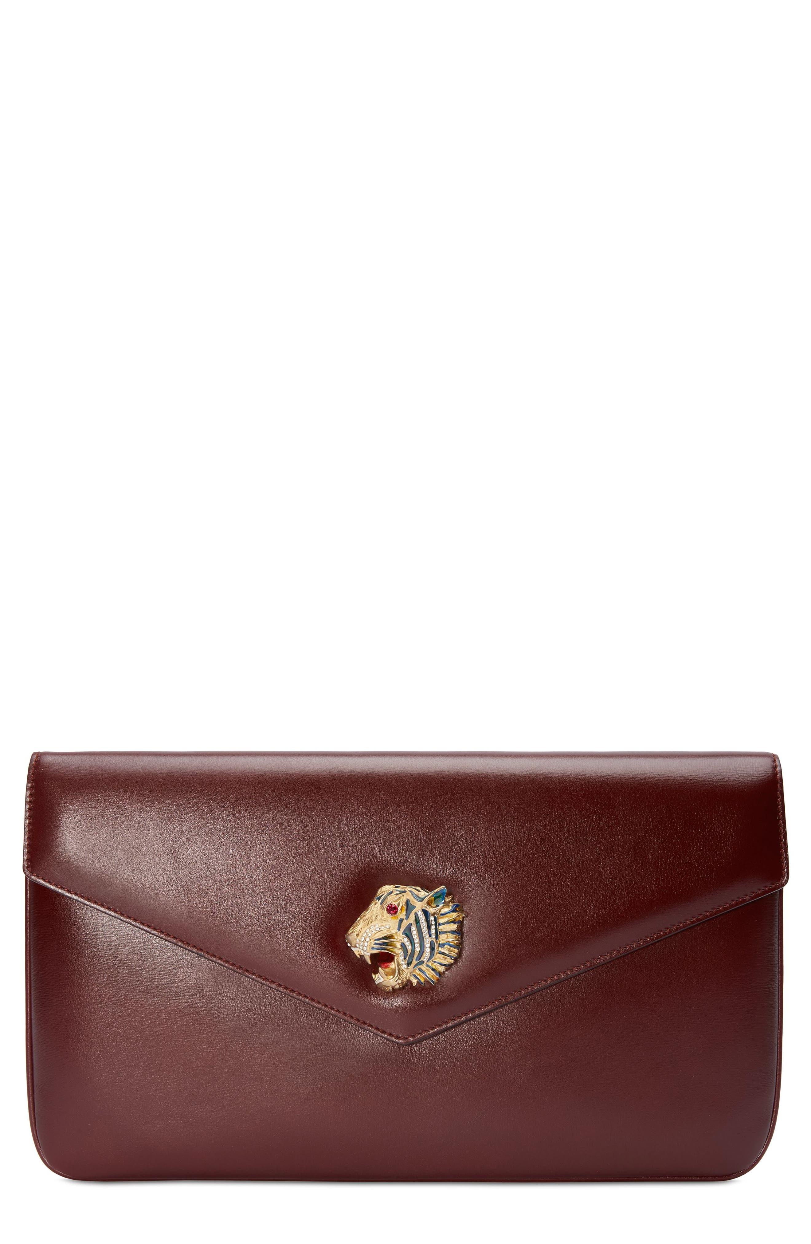 Linea Rajah Leather Clutch,                         Main,                         color, VINTAGE BORDEAUX MULTI