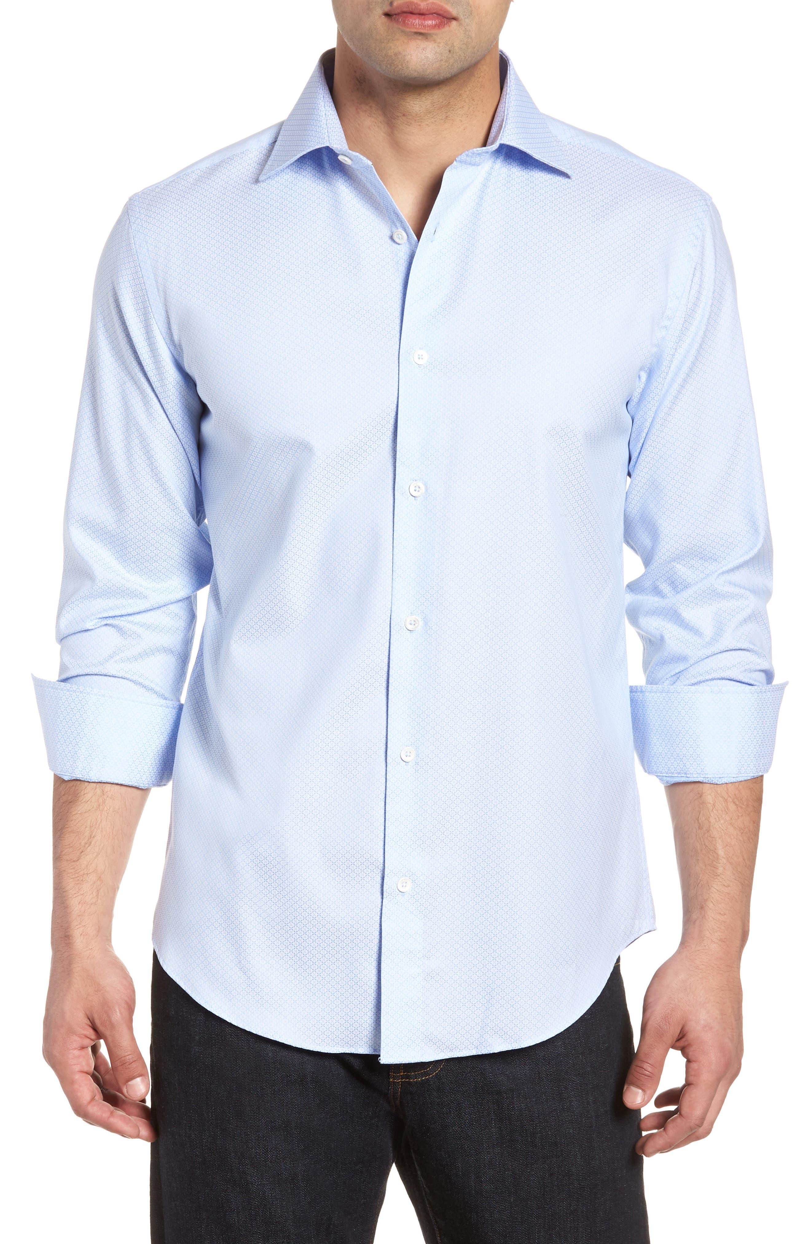 Shaped Fit Textured Dress Shirt,                             Main thumbnail 1, color,                             SKY