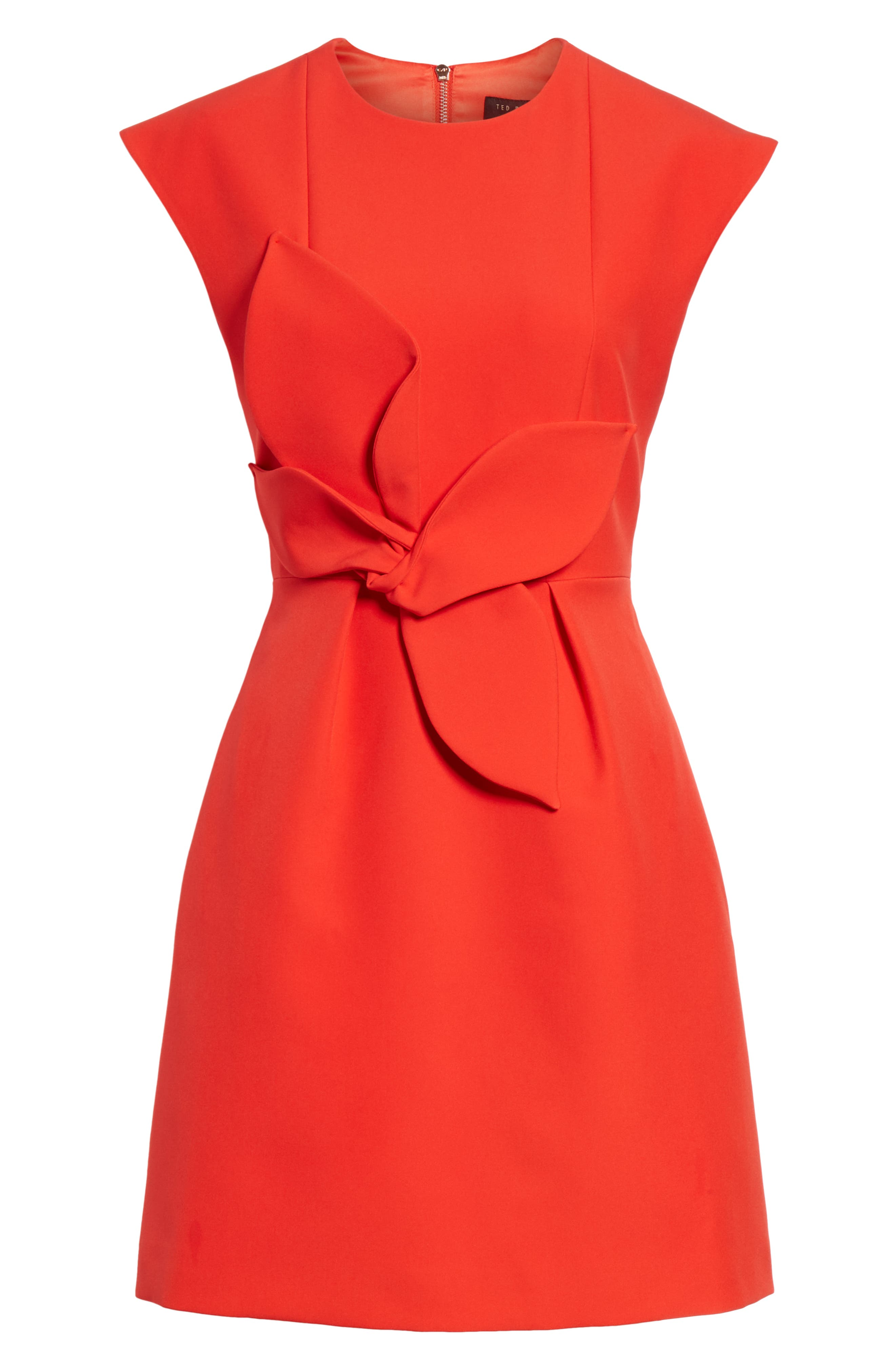 Polly Structured Bow Dress,                             Alternate thumbnail 6, color,                             MID RED
