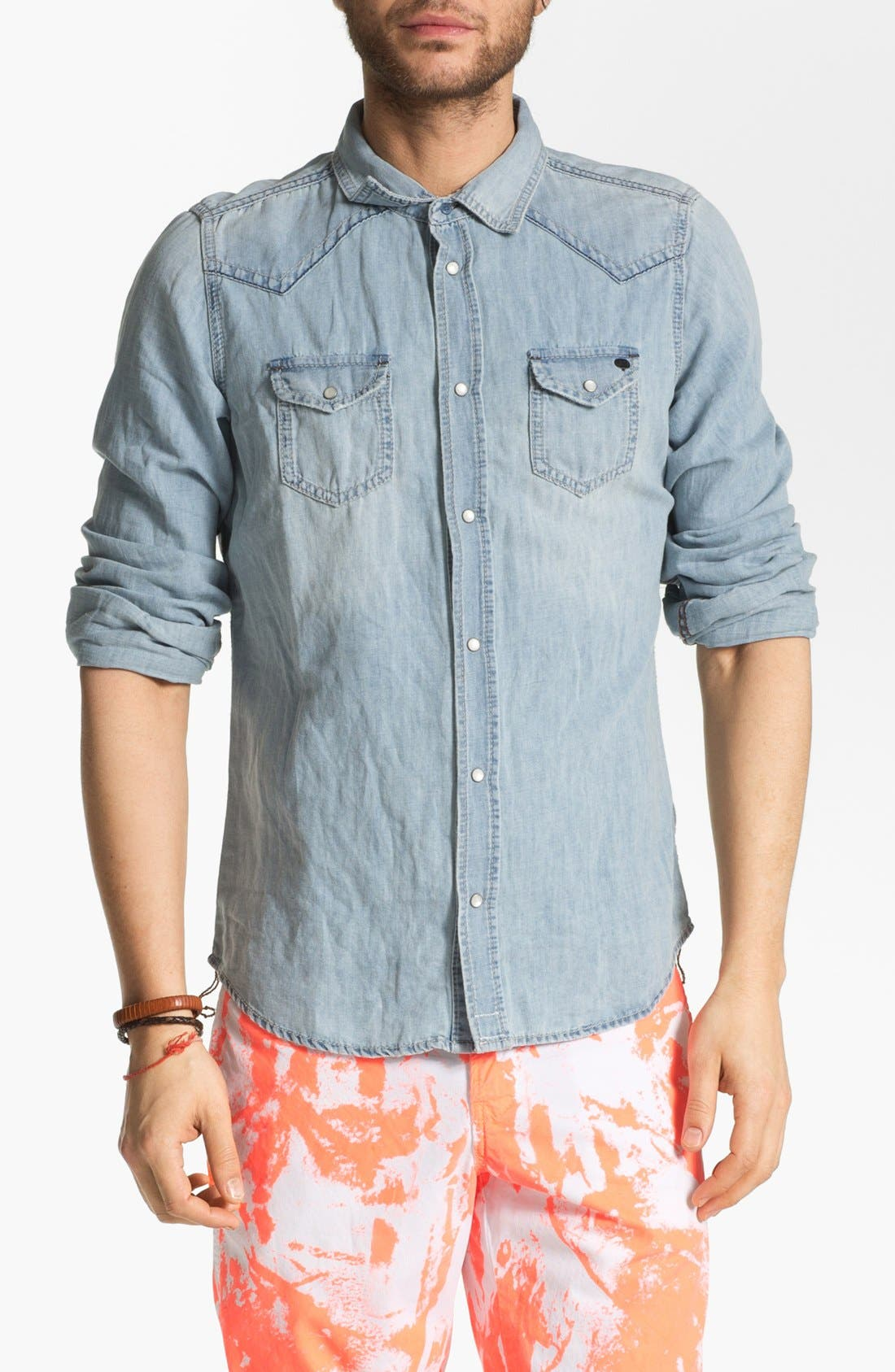 'Sonora' Western Denim Shirt, Main, color, 400