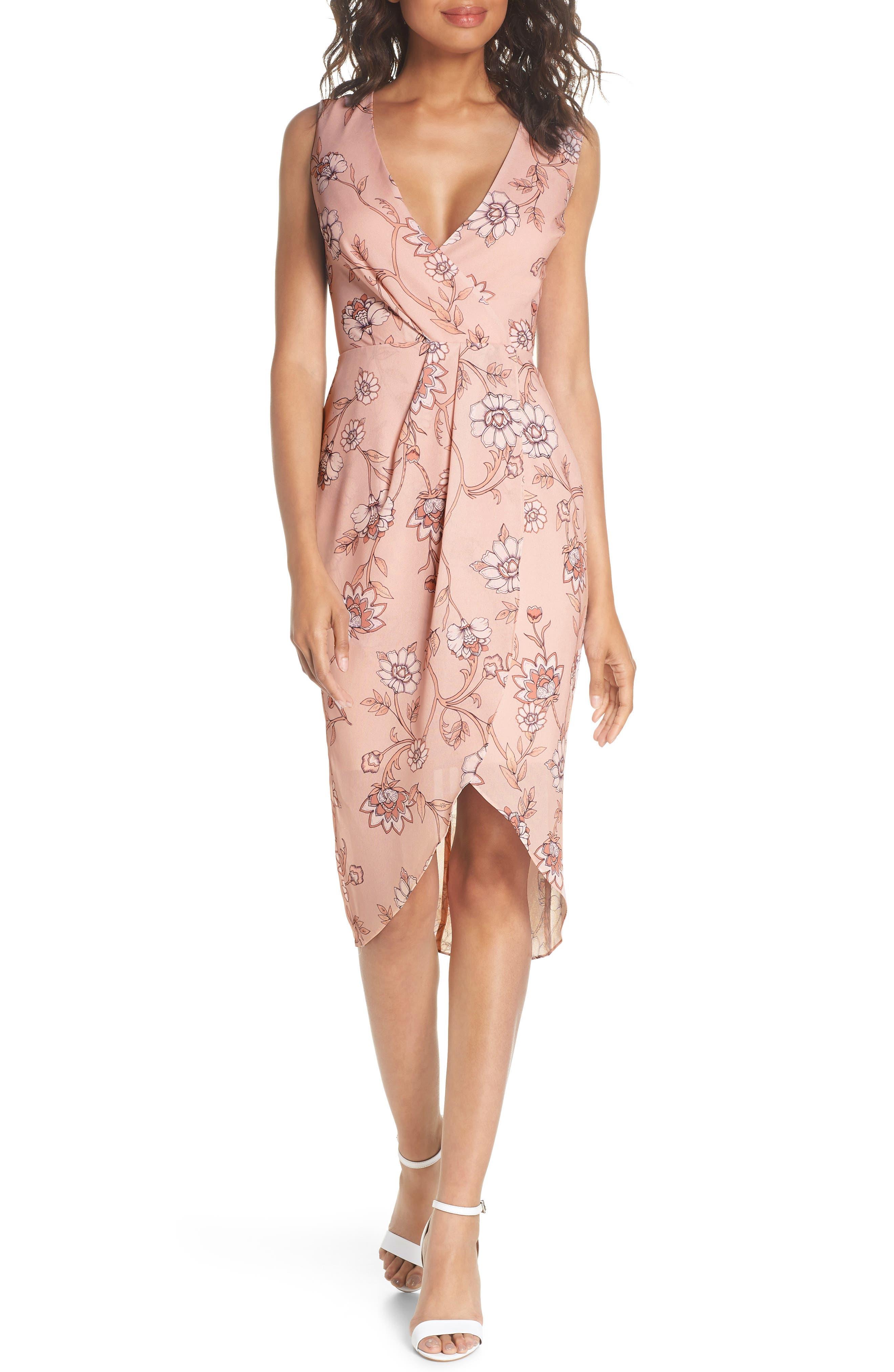 Fiorella Floral Draped Sheath Dress,                         Main,                         color, 668