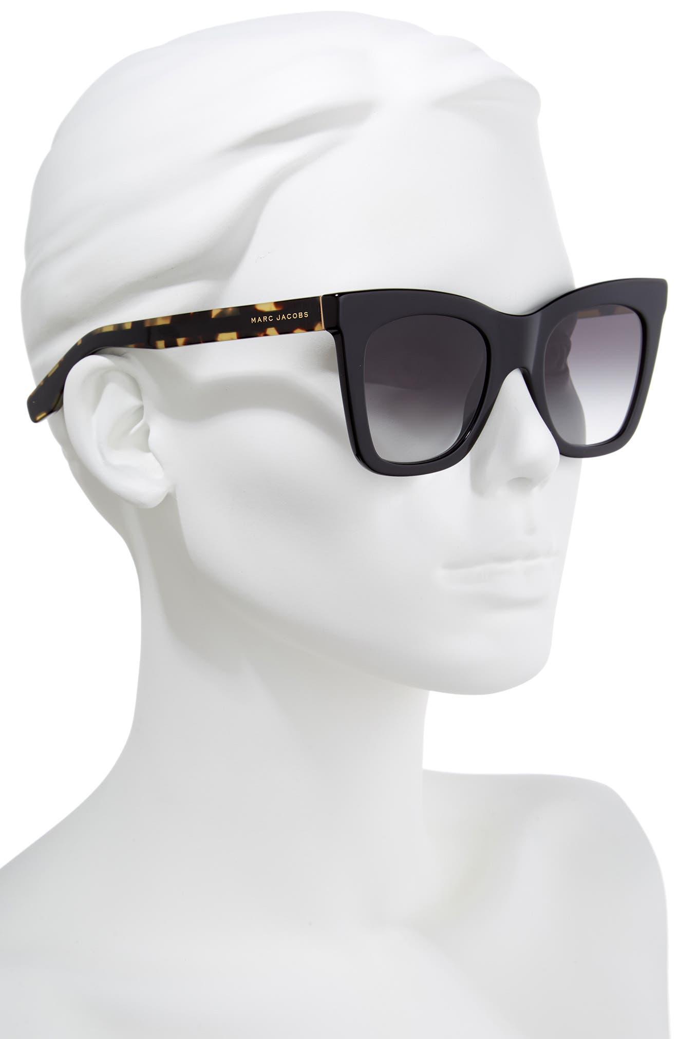 50mm Cat Eye Sunglasses,                             Alternate thumbnail 2, color,                             BLACK