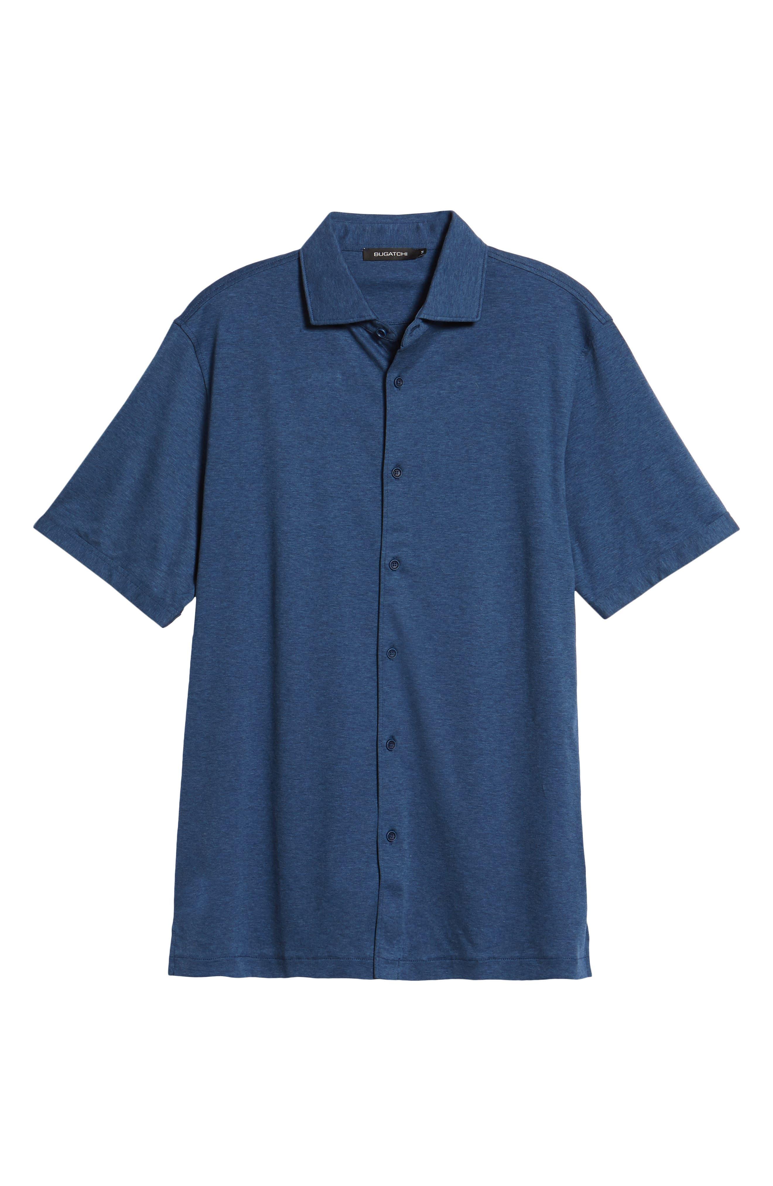 Regular Fit Heather Knit Sport Shirt,                             Alternate thumbnail 6, color,                             NAVY