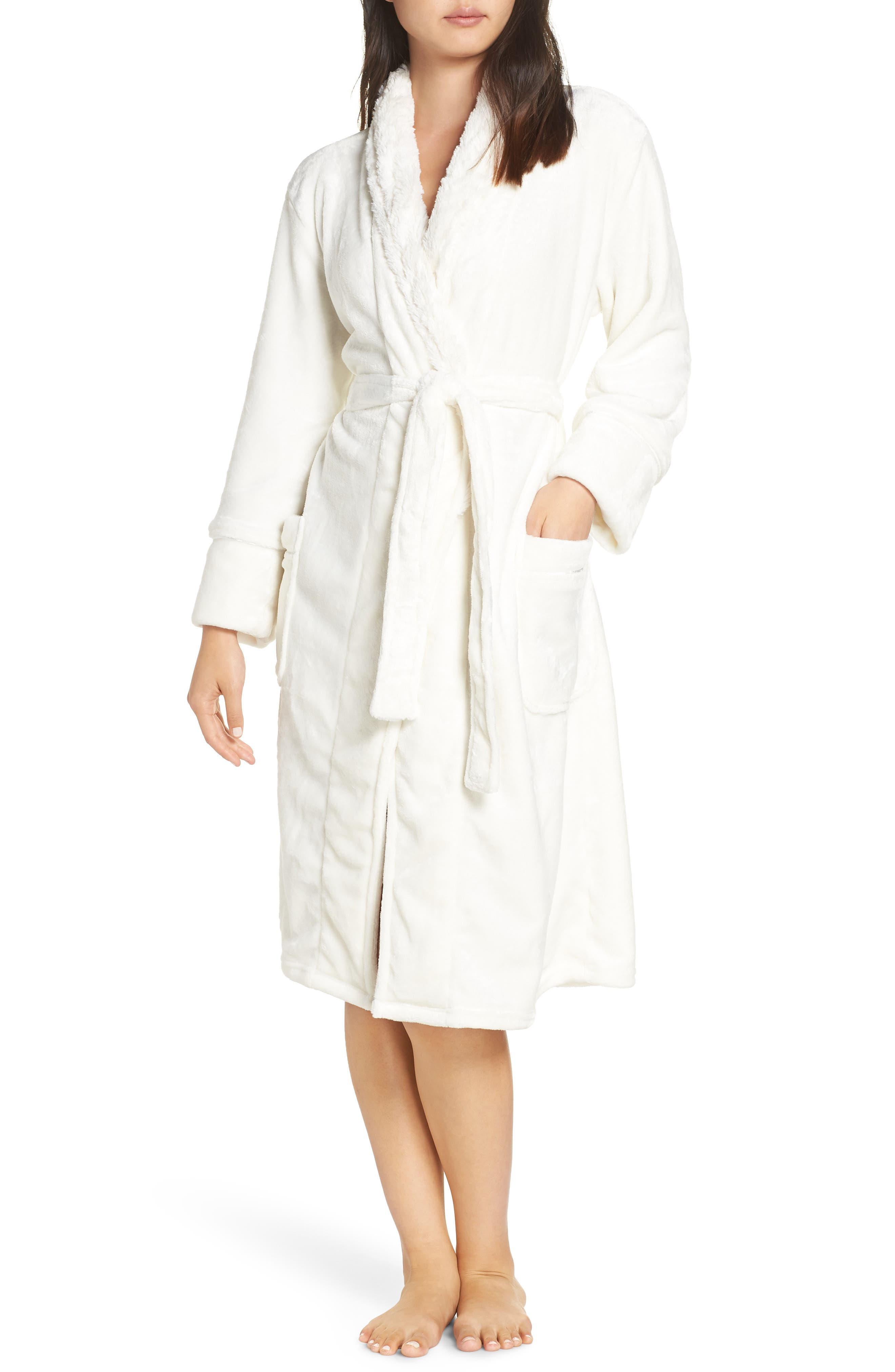 PJ SALVAGE Luxe Faux Fur Robe in Natural
