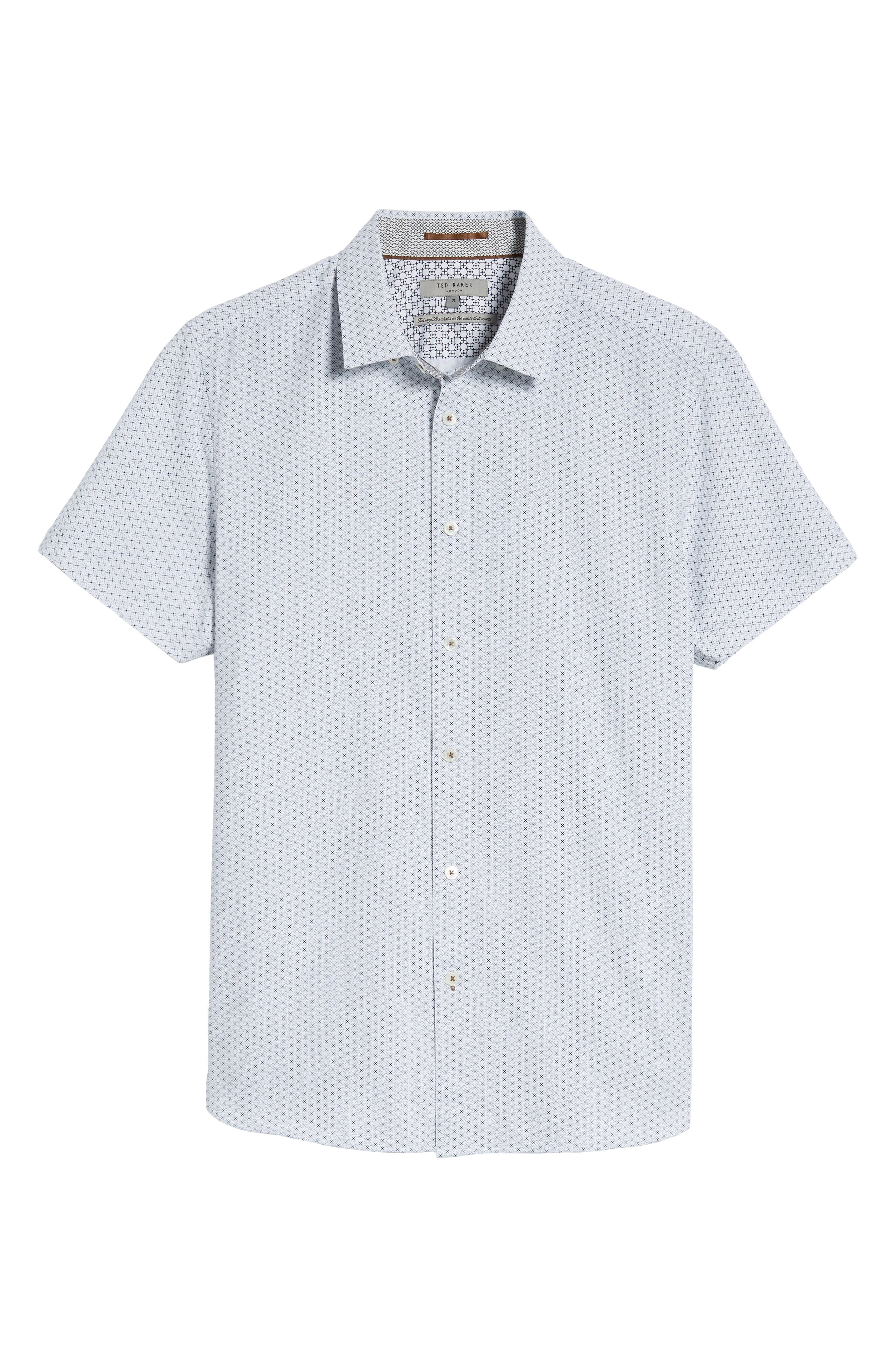 Geo Polynosic Slim Fit Woven Shirt,                             Alternate thumbnail 6, color,                             110