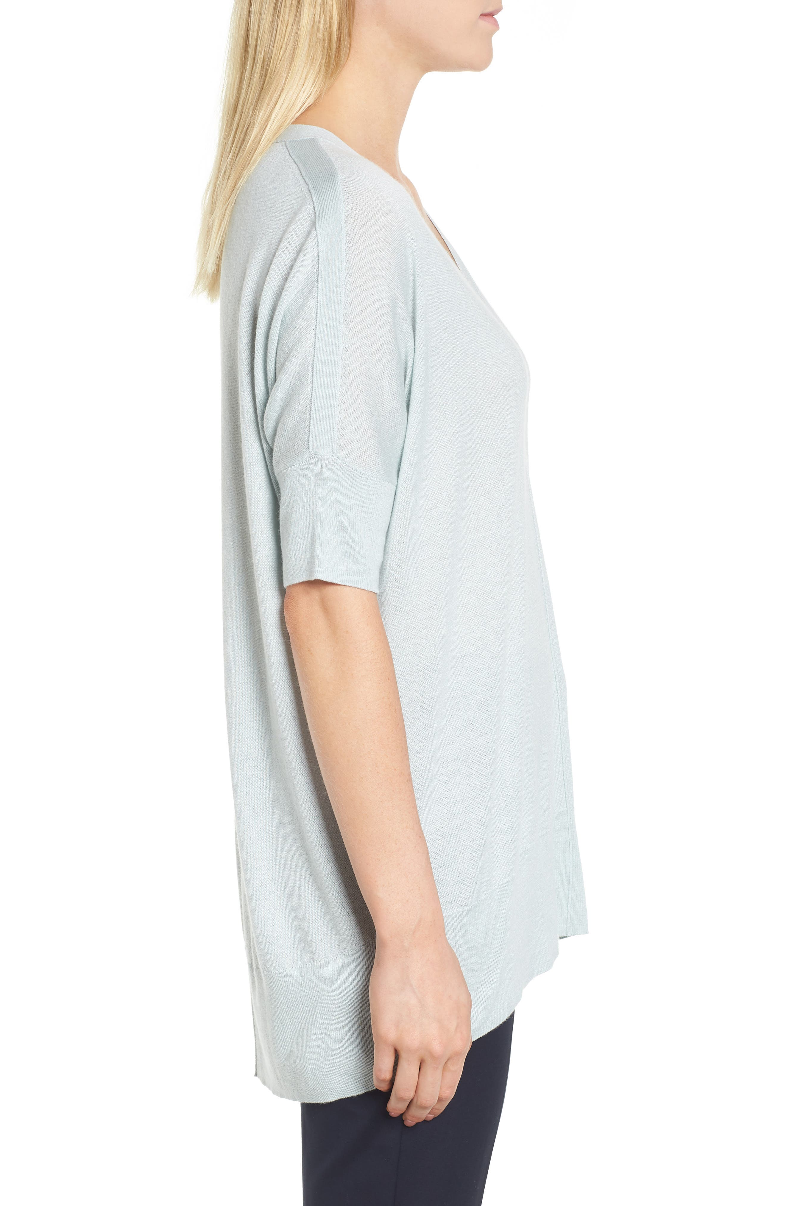 High/Low Silk & Cashmere Sweater,                             Alternate thumbnail 3, color,                             330