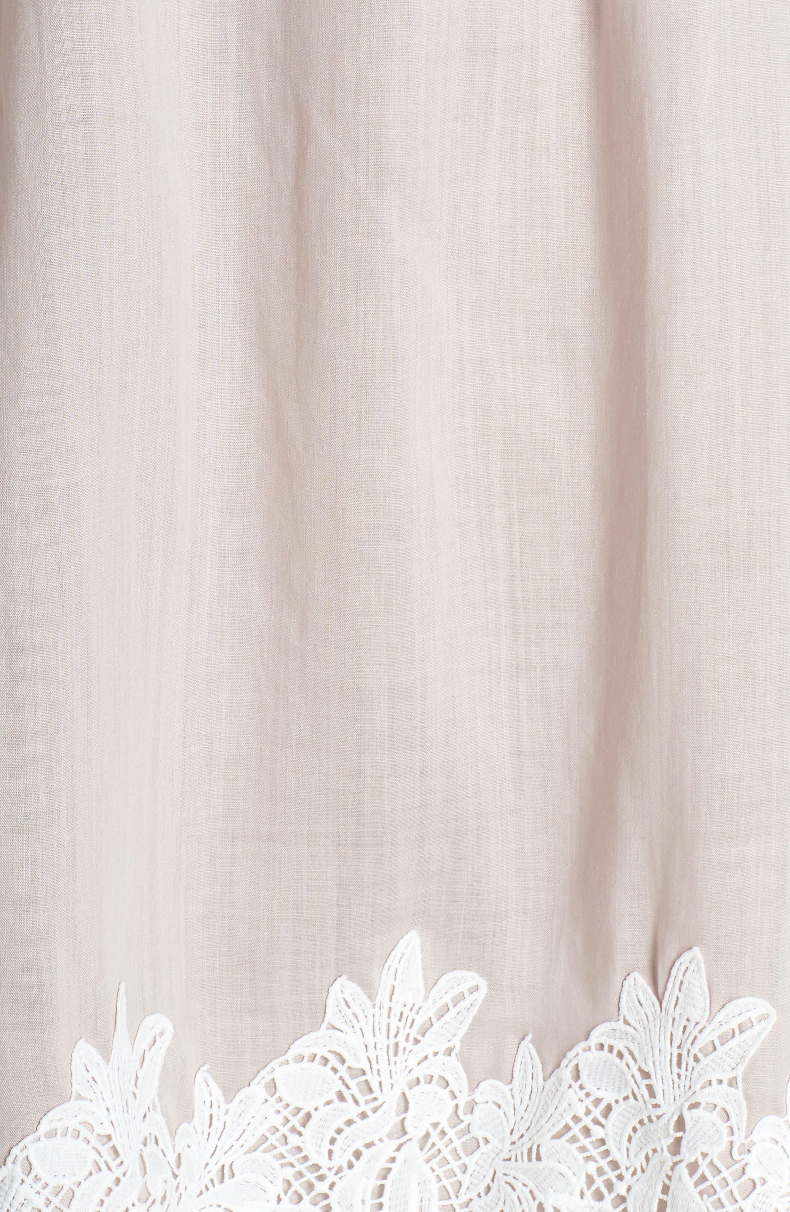 Hudson Off the Shoulder Lace Hem Linen Dress,                             Alternate thumbnail 6, color,                             650