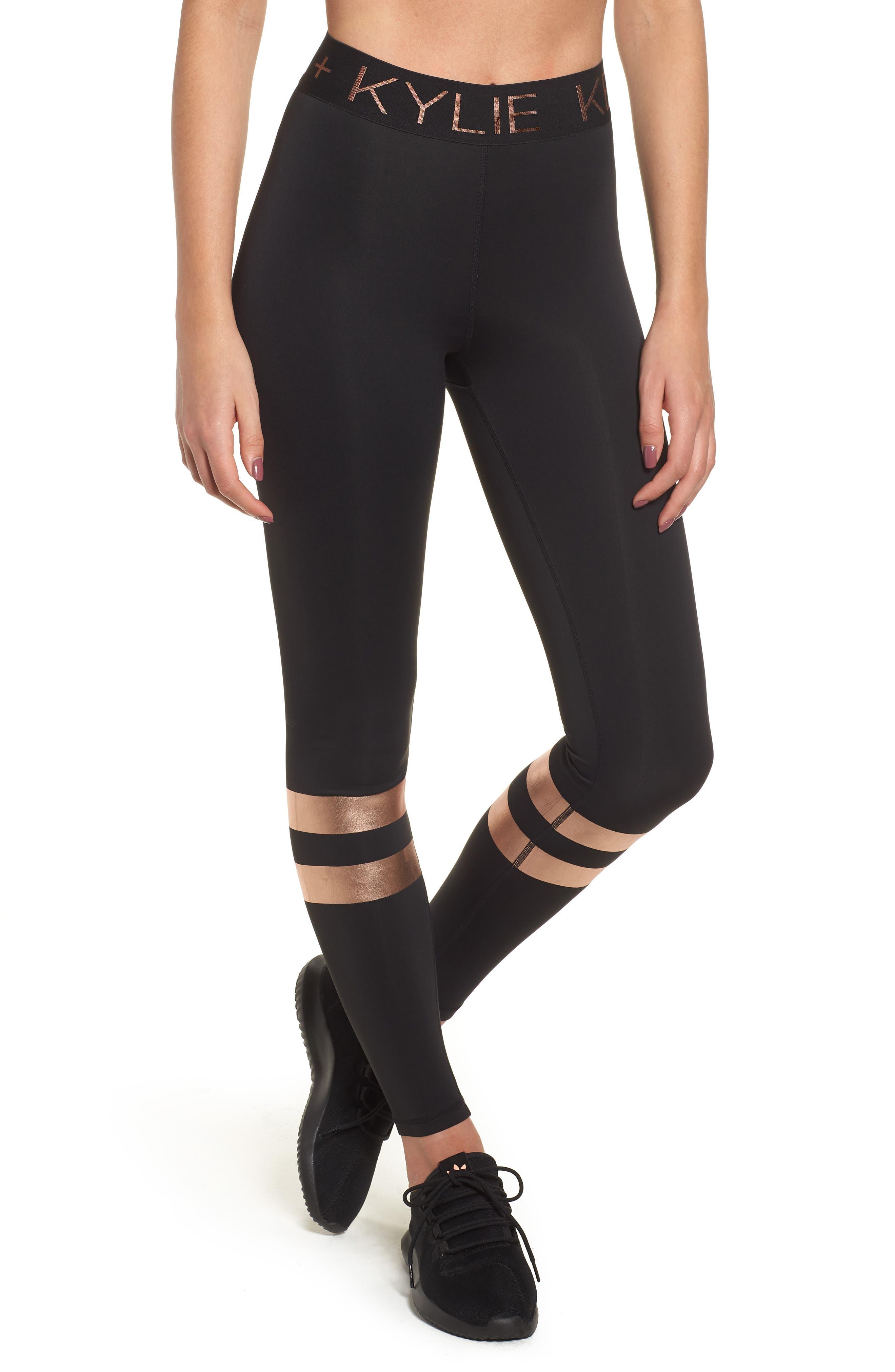 Kendall + Kylie Metallic Banded Leggings, Black