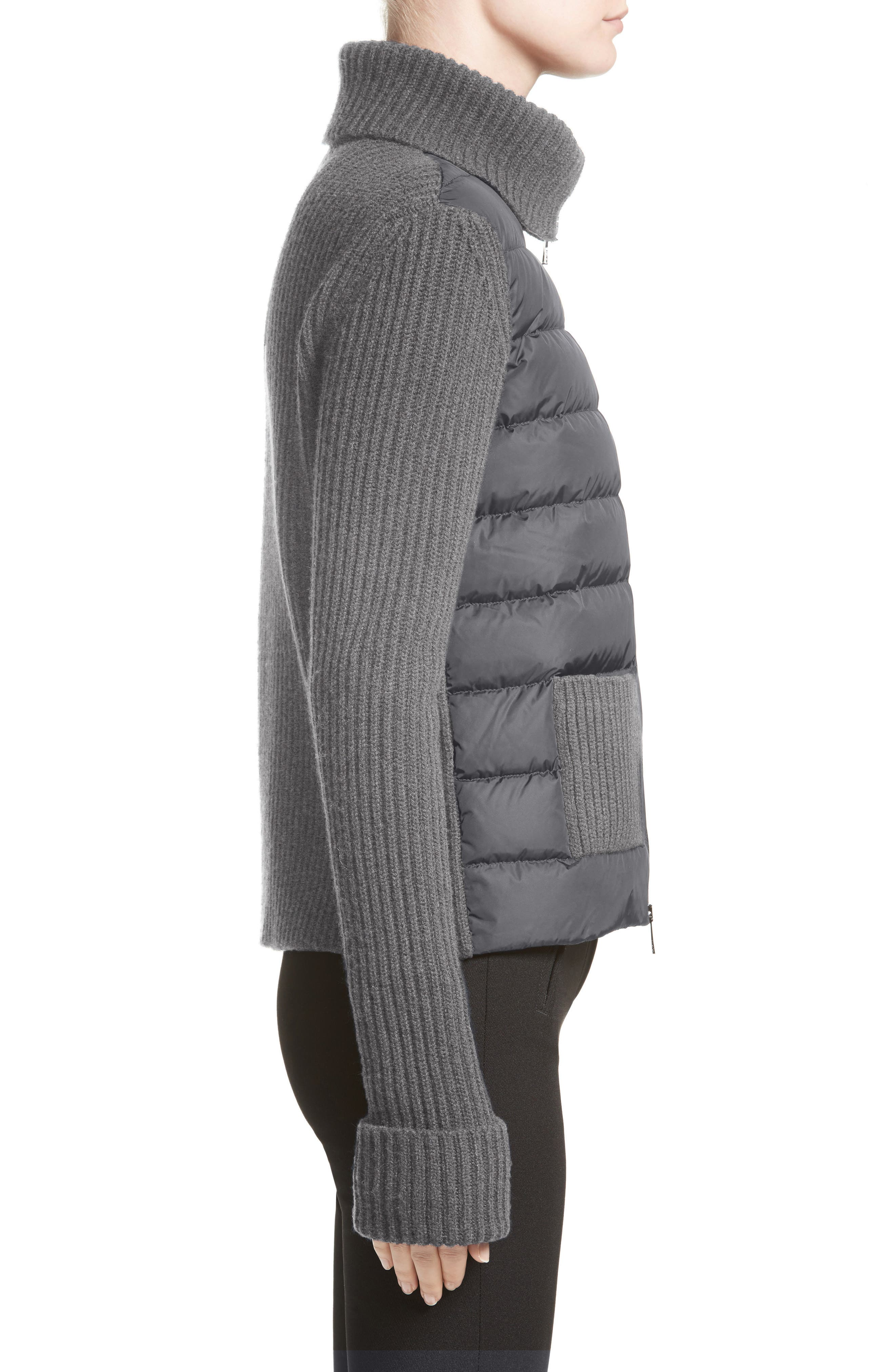 Ciclista Quilted Down Front Sweater Jacket,                             Alternate thumbnail 4, color,                             GREY