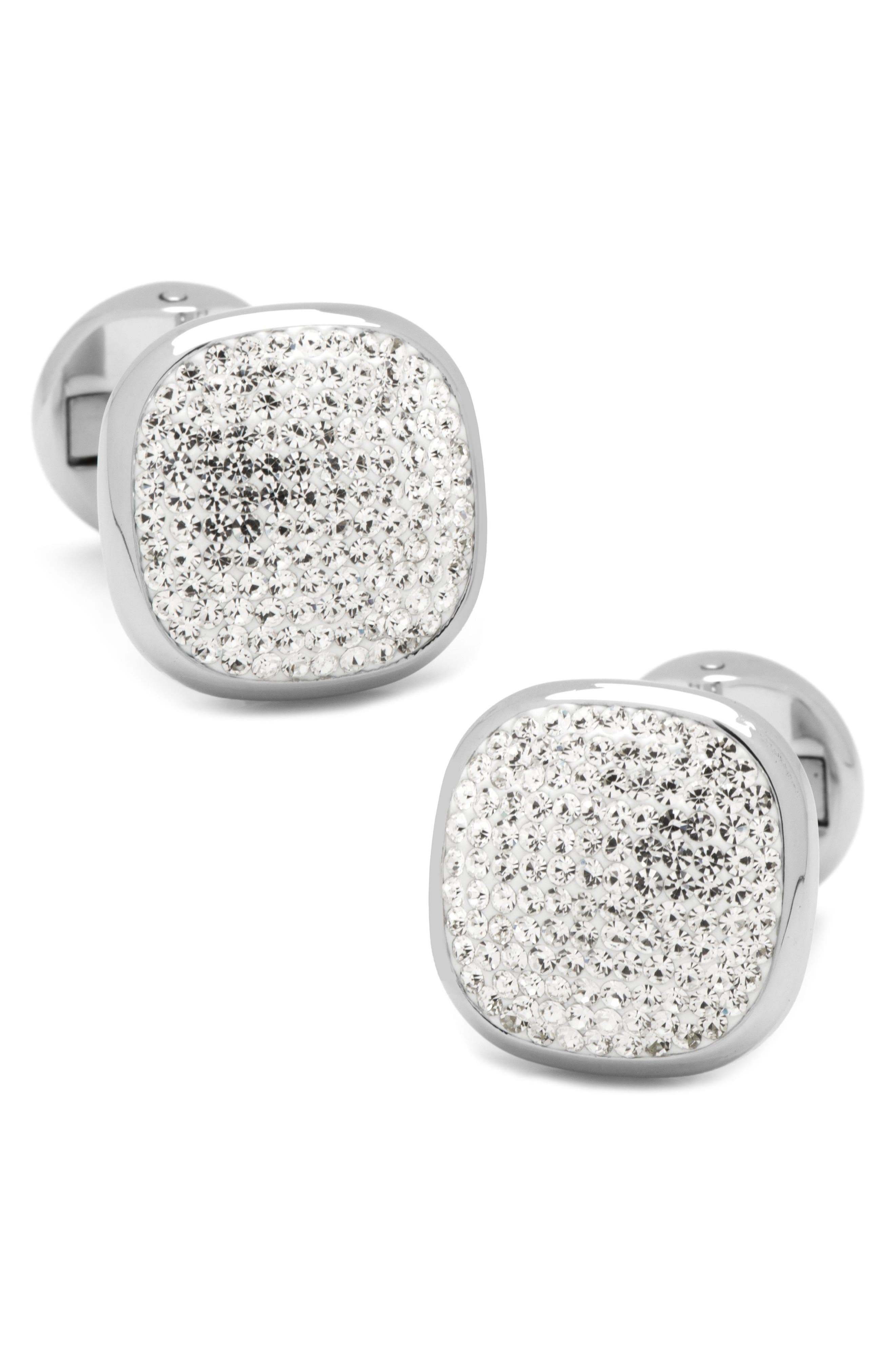 Pavé Silvertone Cuff Links,                             Main thumbnail 1, color,                             SILVER/ WHITE