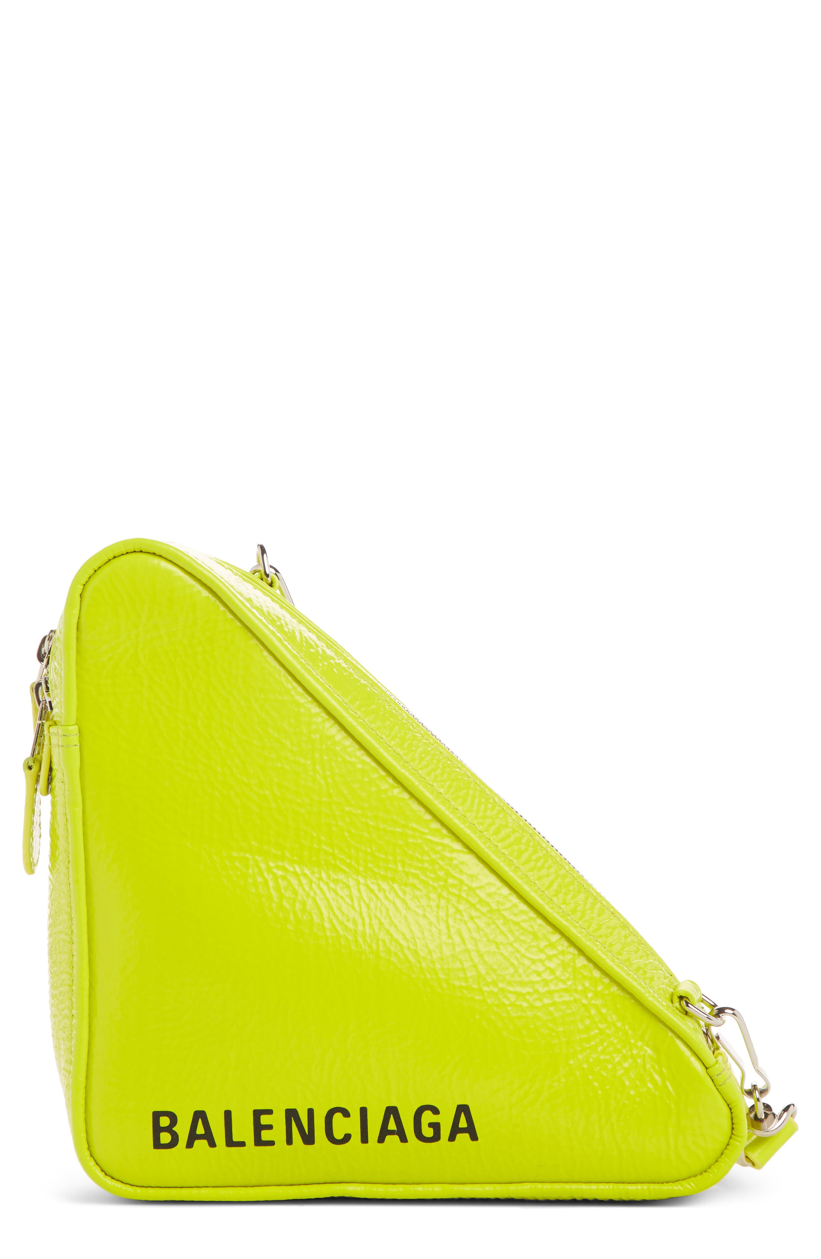 BALENCIAGA,                             Triangle Calfskin Crossbody Bag,                             Main thumbnail 1, color,                             ACID GREEN/ BLACK