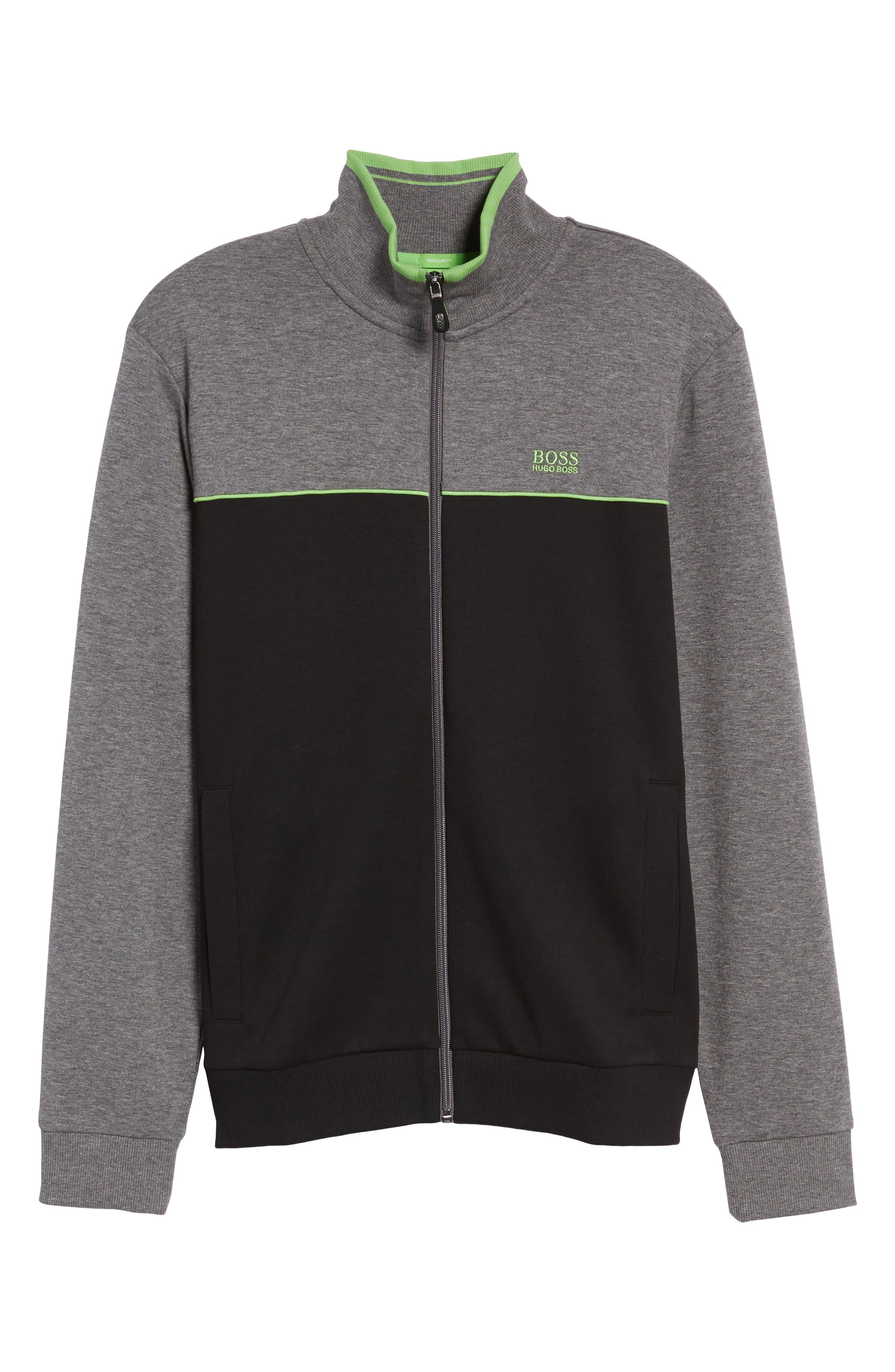 BOSS GREEN,                             Skaz Full Zip Fleece Jacket,                             Alternate thumbnail 6, color,                             001
