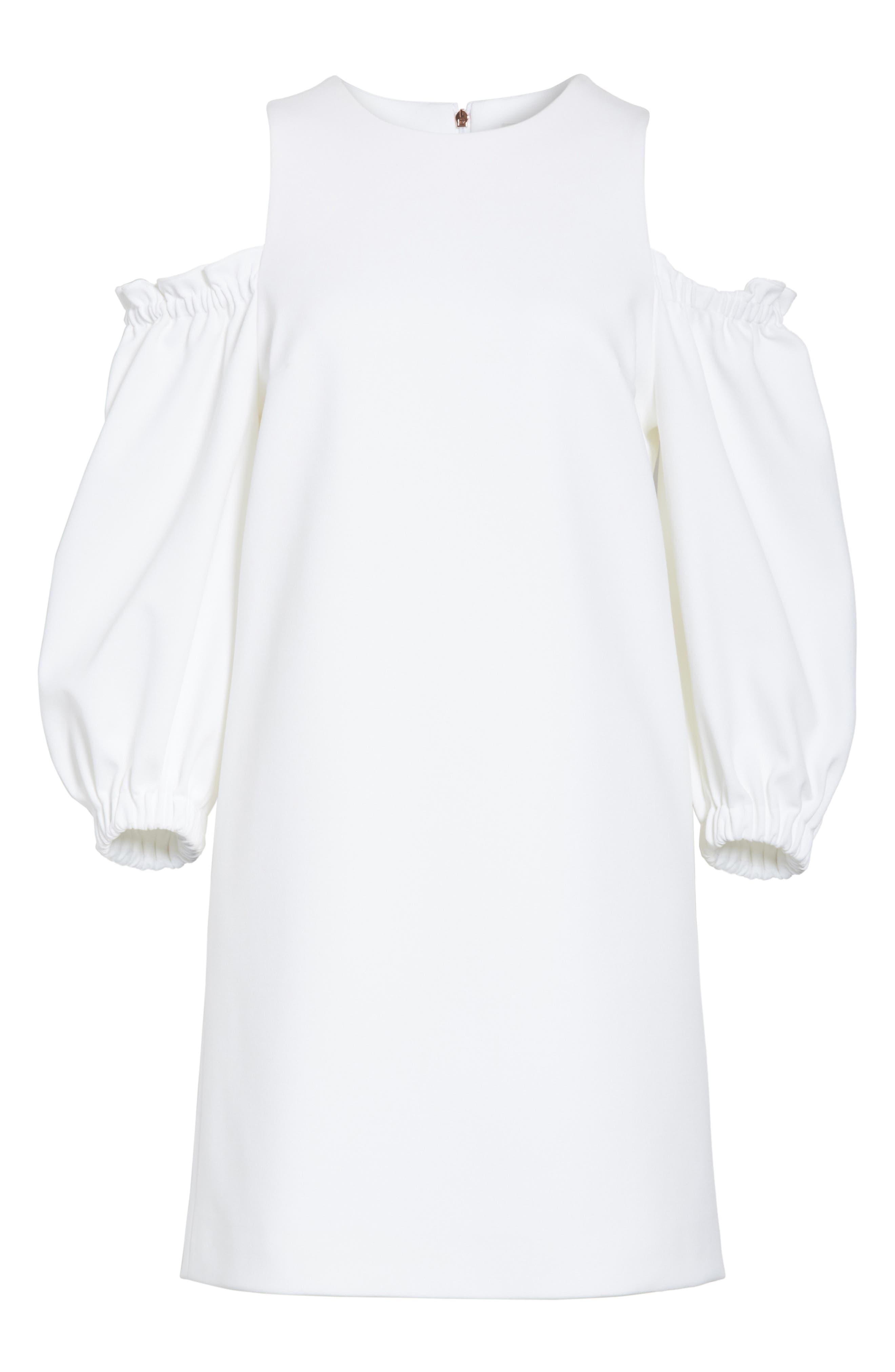 Crepe Cold Shoulder Shift Dress,                             Alternate thumbnail 6, color,                             100