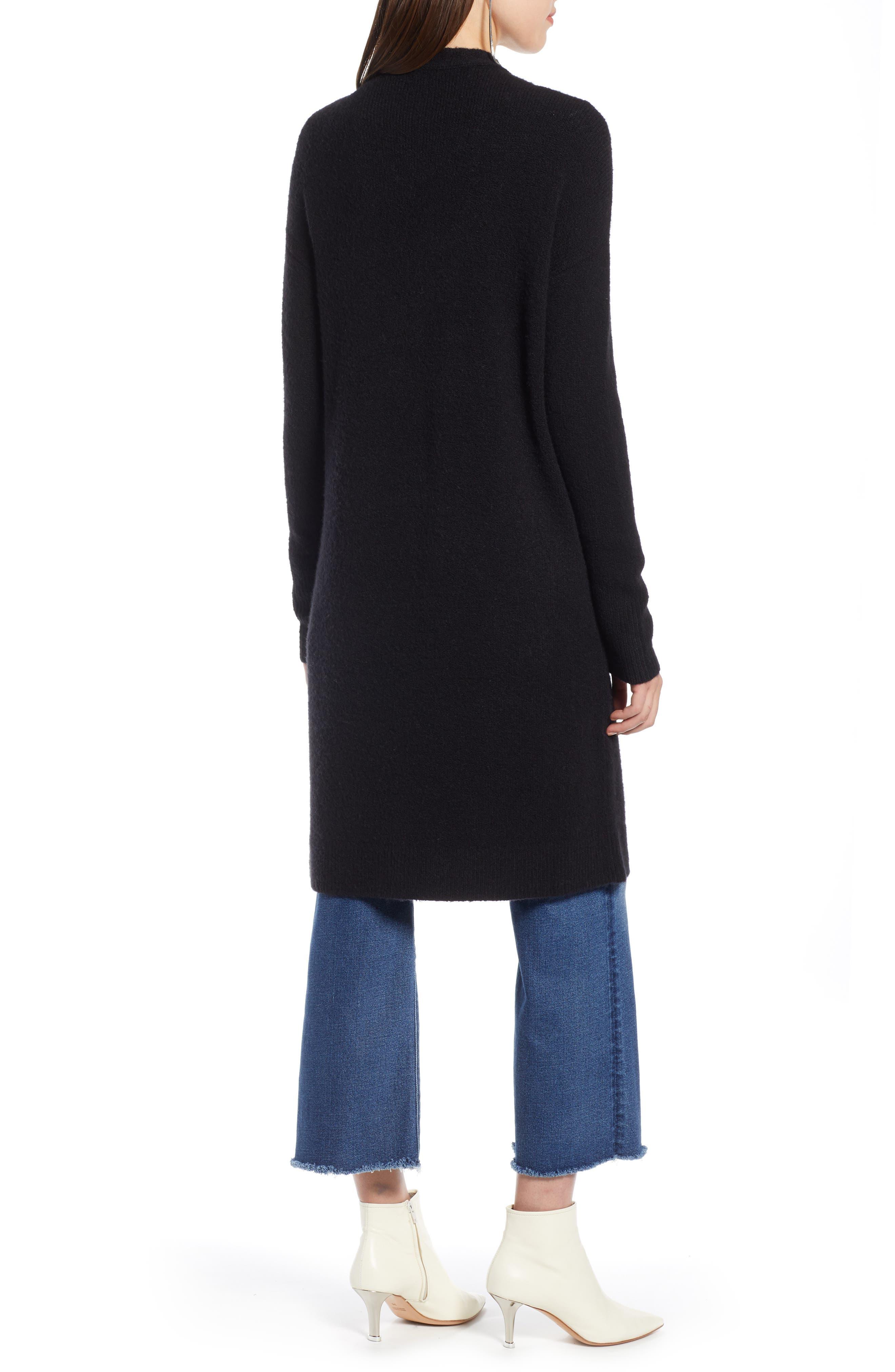 HALOGEN<SUP>®</SUP>,                             Long Open Front Cardigan,                             Alternate thumbnail 2, color,                             BLACK