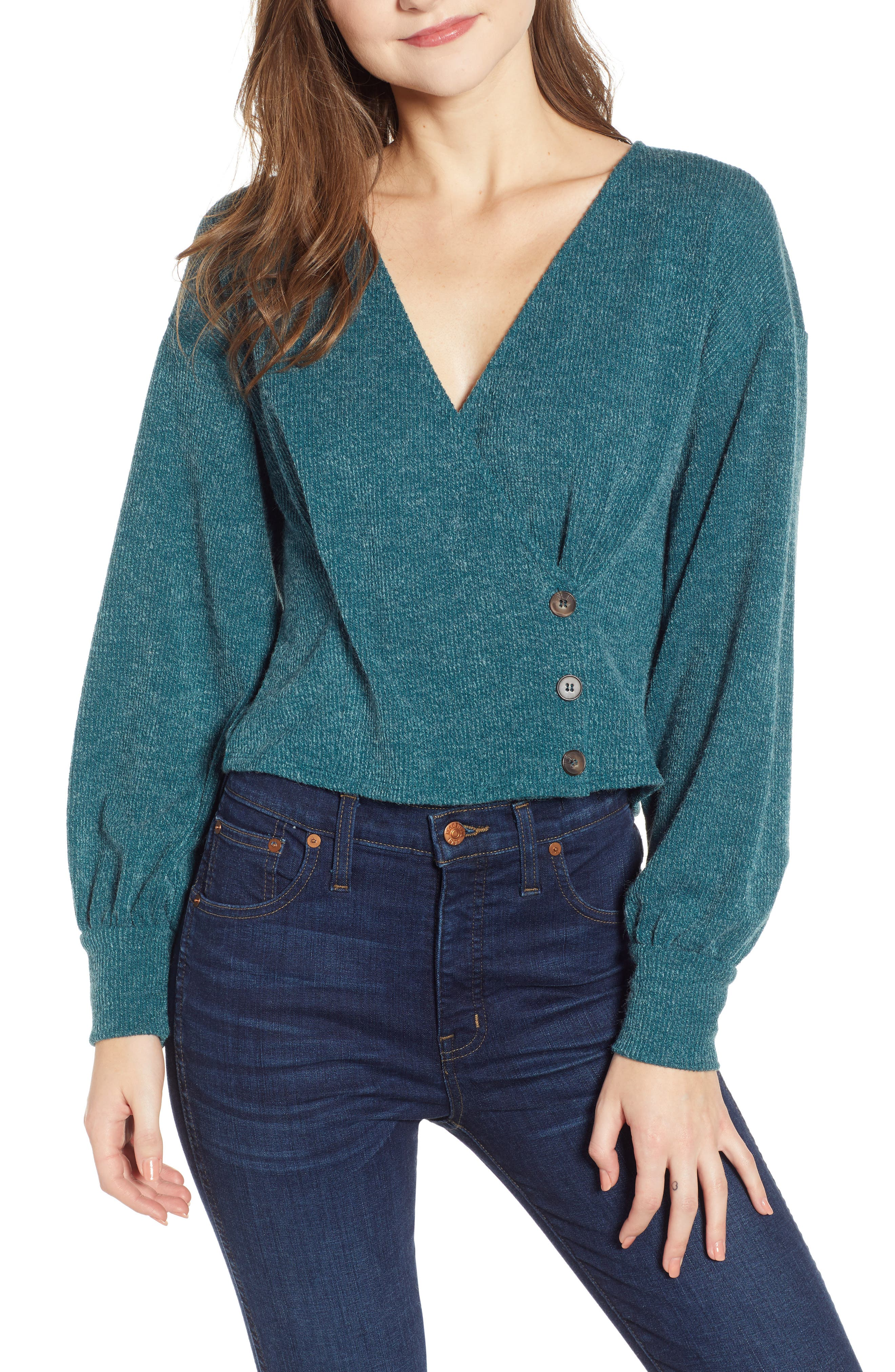 Wrap Sweater,                         Main,                         color, TEAL