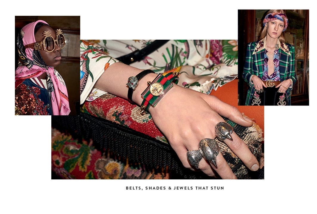 Stunning Gucci belts, shades and jewelry.