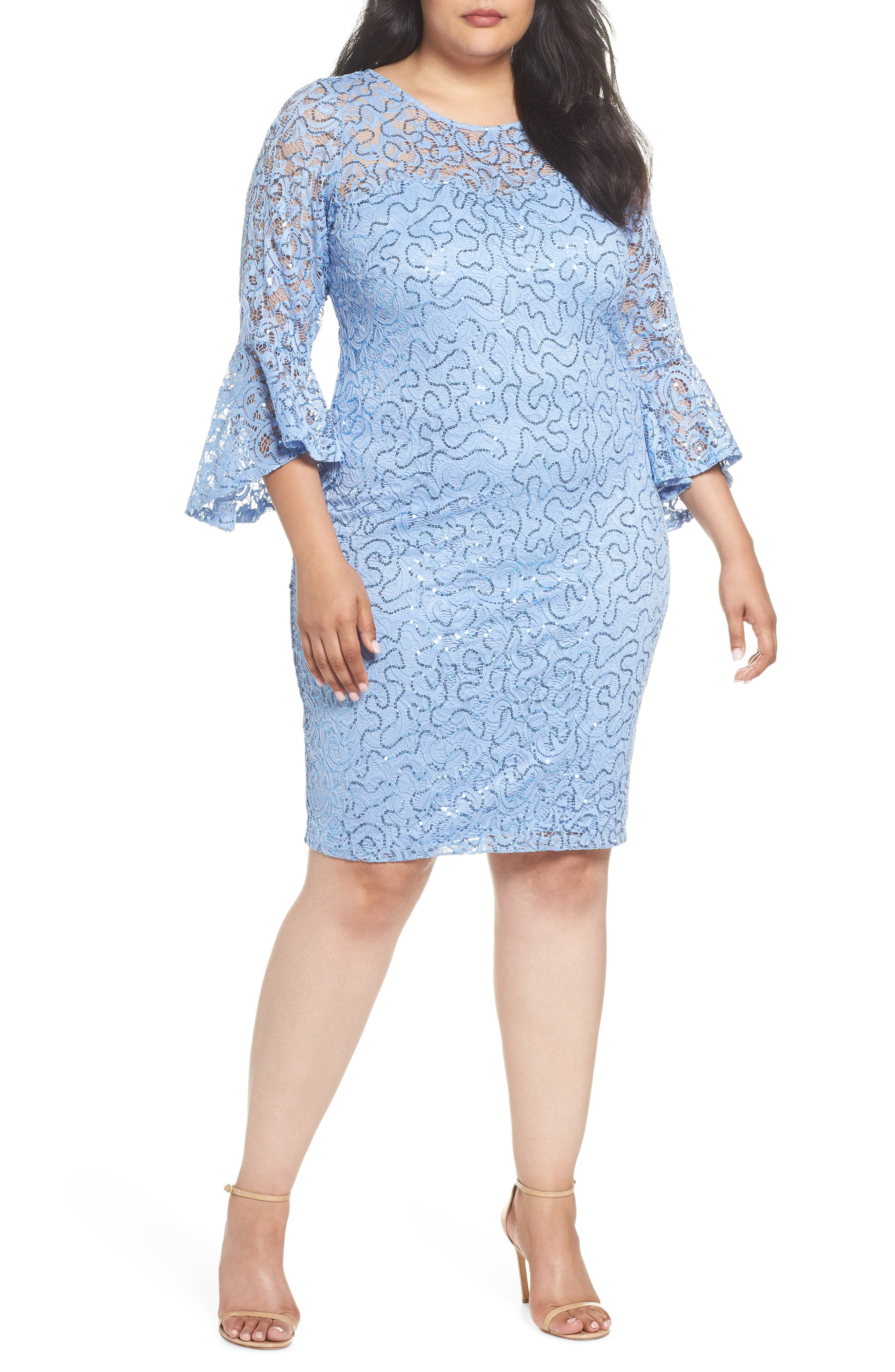 Sequin Lace Bell Sleeve Dress,                         Main,                         color, BLUE