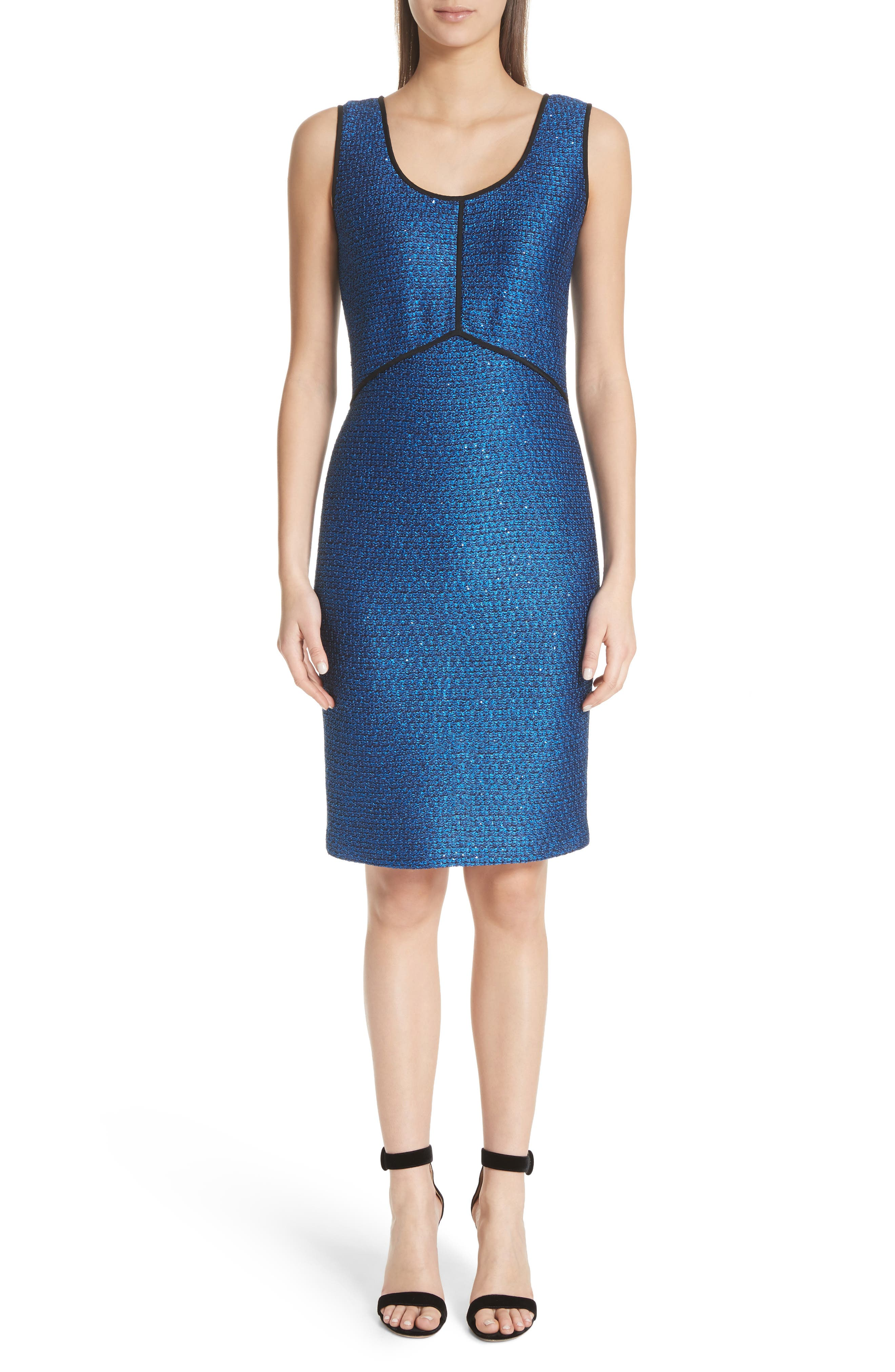 Luster Sequin Knit Dress,                             Main thumbnail 1, color,                             COBALT MULTI