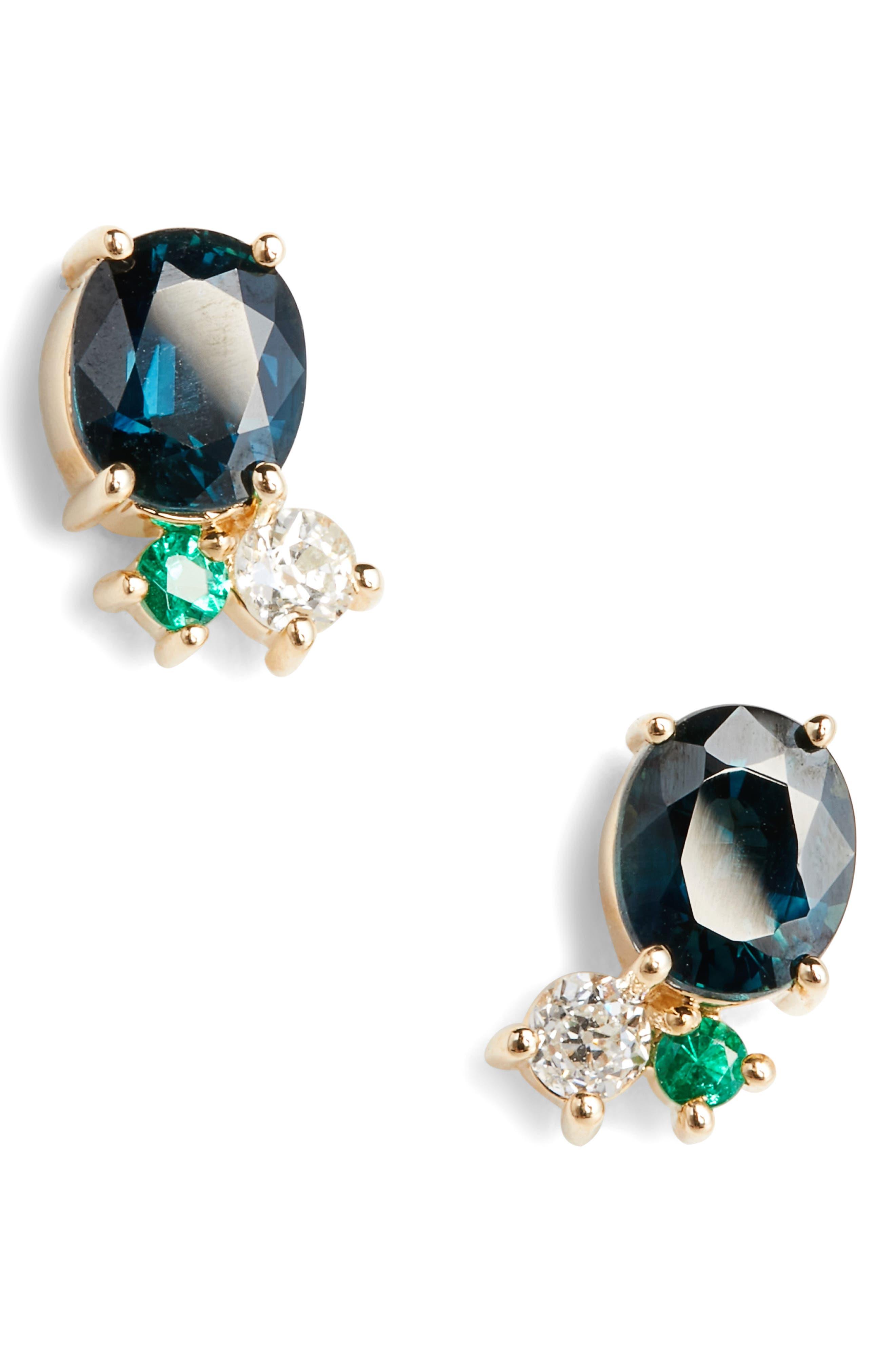 Sapphire, Diamond & Emerald Earrings,                             Main thumbnail 1, color,