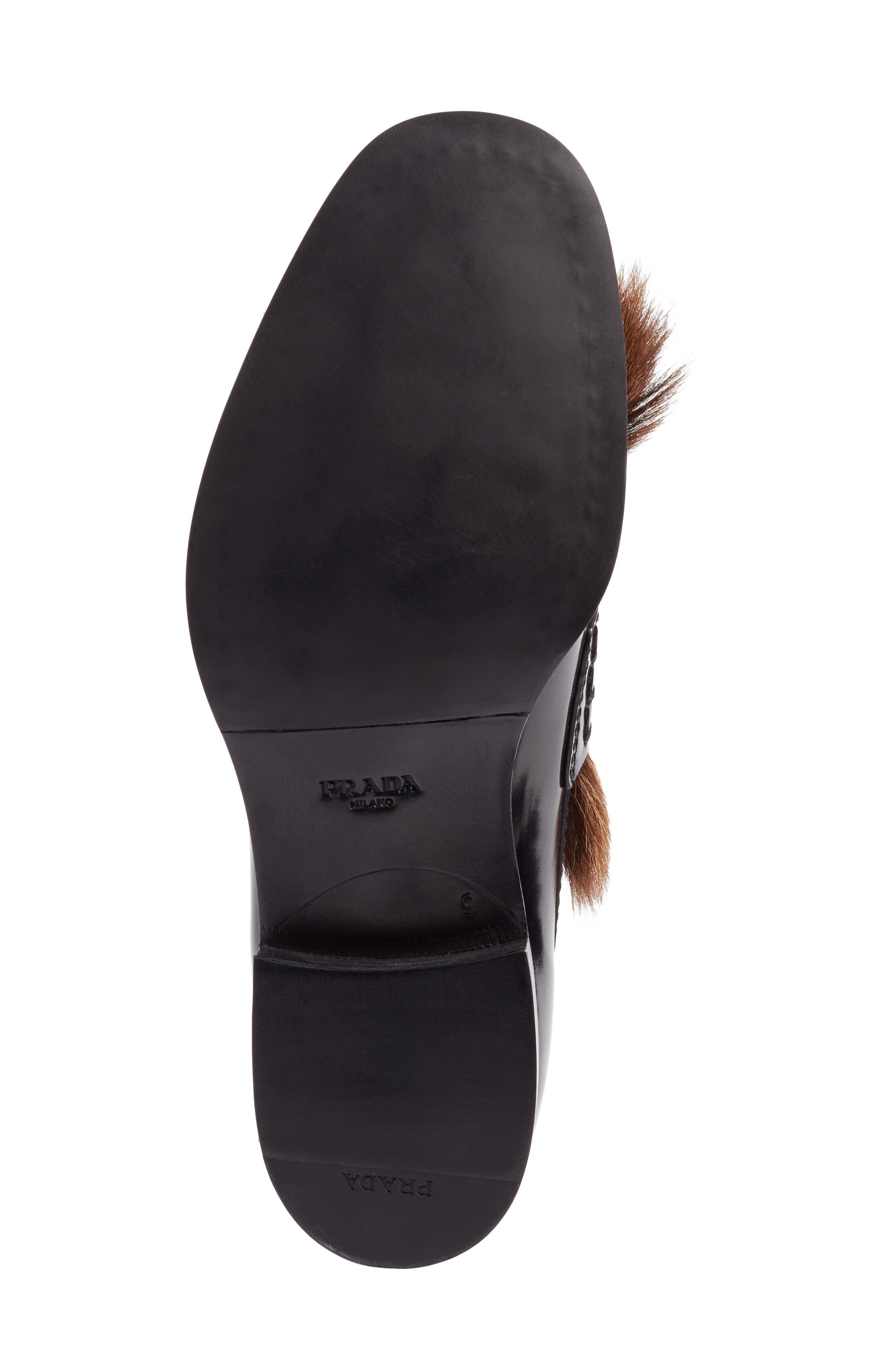 Tassel Loafer with Genuine Goat Hair Trim,                             Alternate thumbnail 6, color,                             001