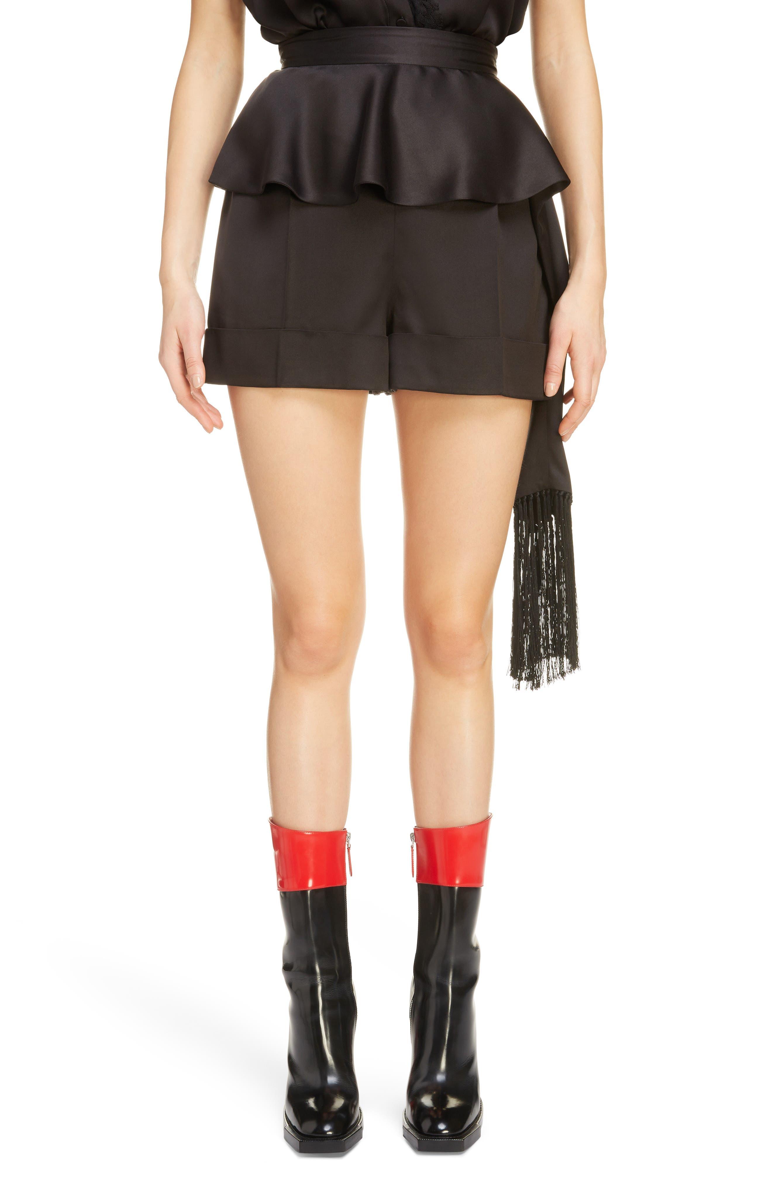 Side Scarf Peplum Satin Shorts,                             Main thumbnail 1, color,                             1000 - BLACK